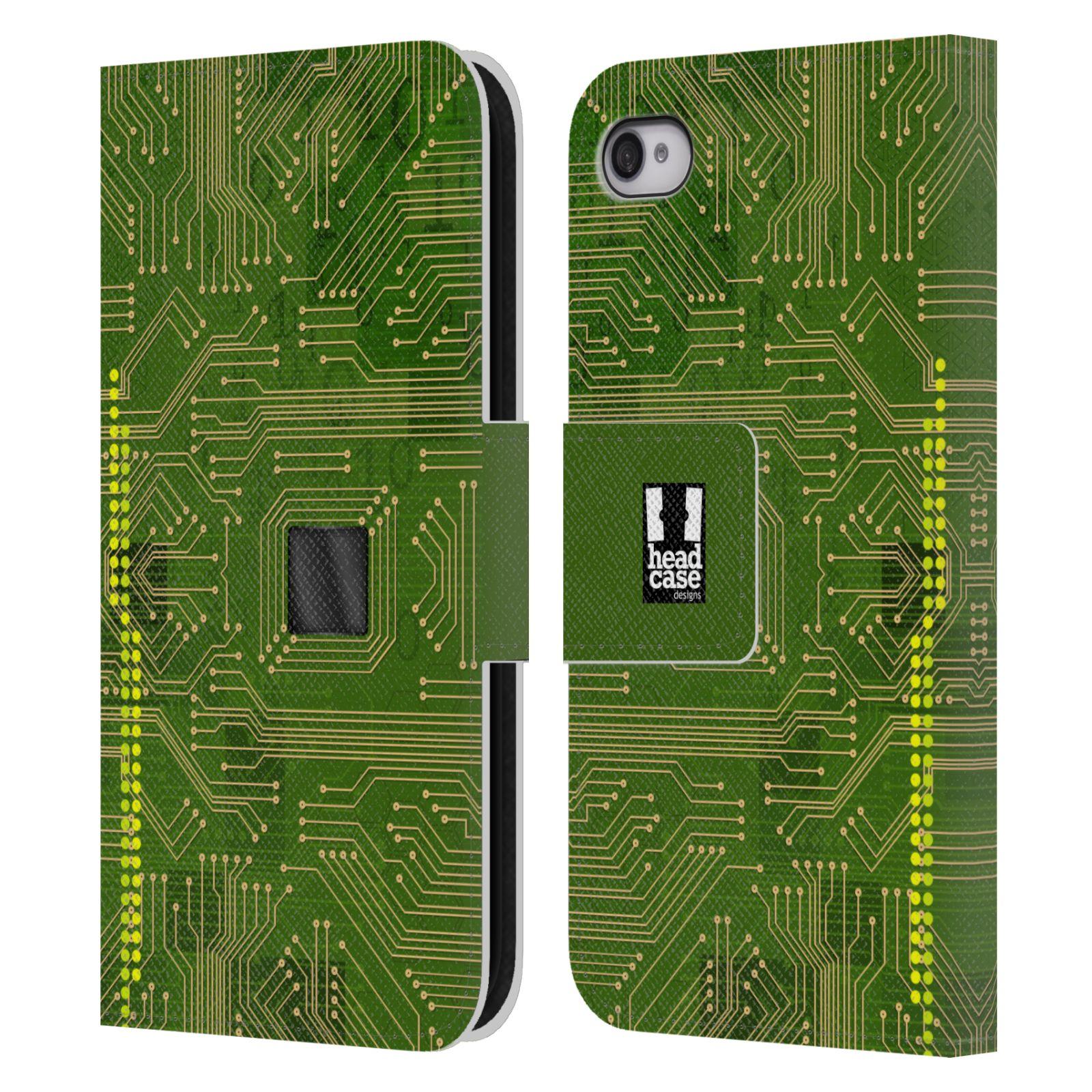 HEAD CASE Flipové pouzdro pro mobil Apple Iphone 4/4s počítač základní deska zelená barva