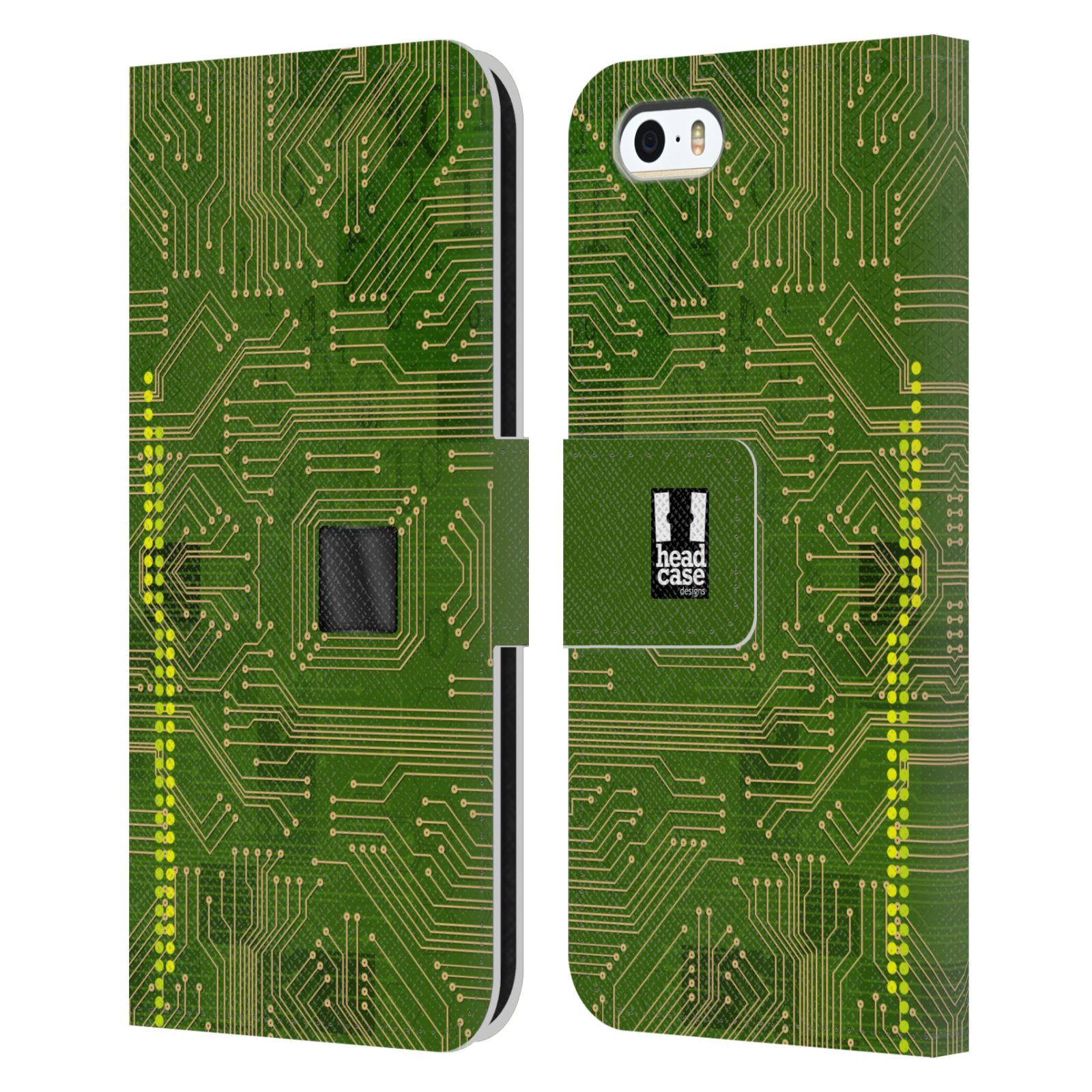 HEAD CASE Flipové pouzdro pro mobil Apple Iphone 5/5s počítač základní deska zelená barva