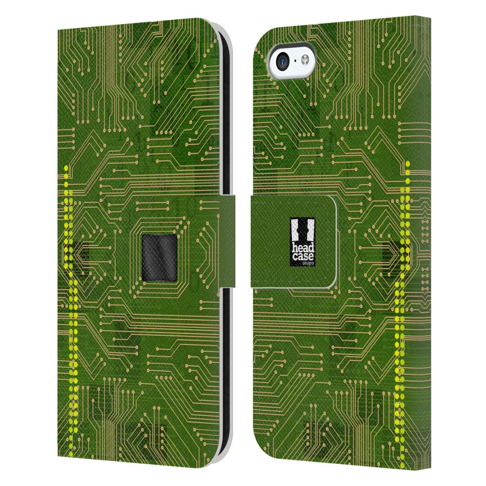 HEAD CASE Flipové pouzdro pro mobil Apple Iphone 5C počítač základní deska zelená barva