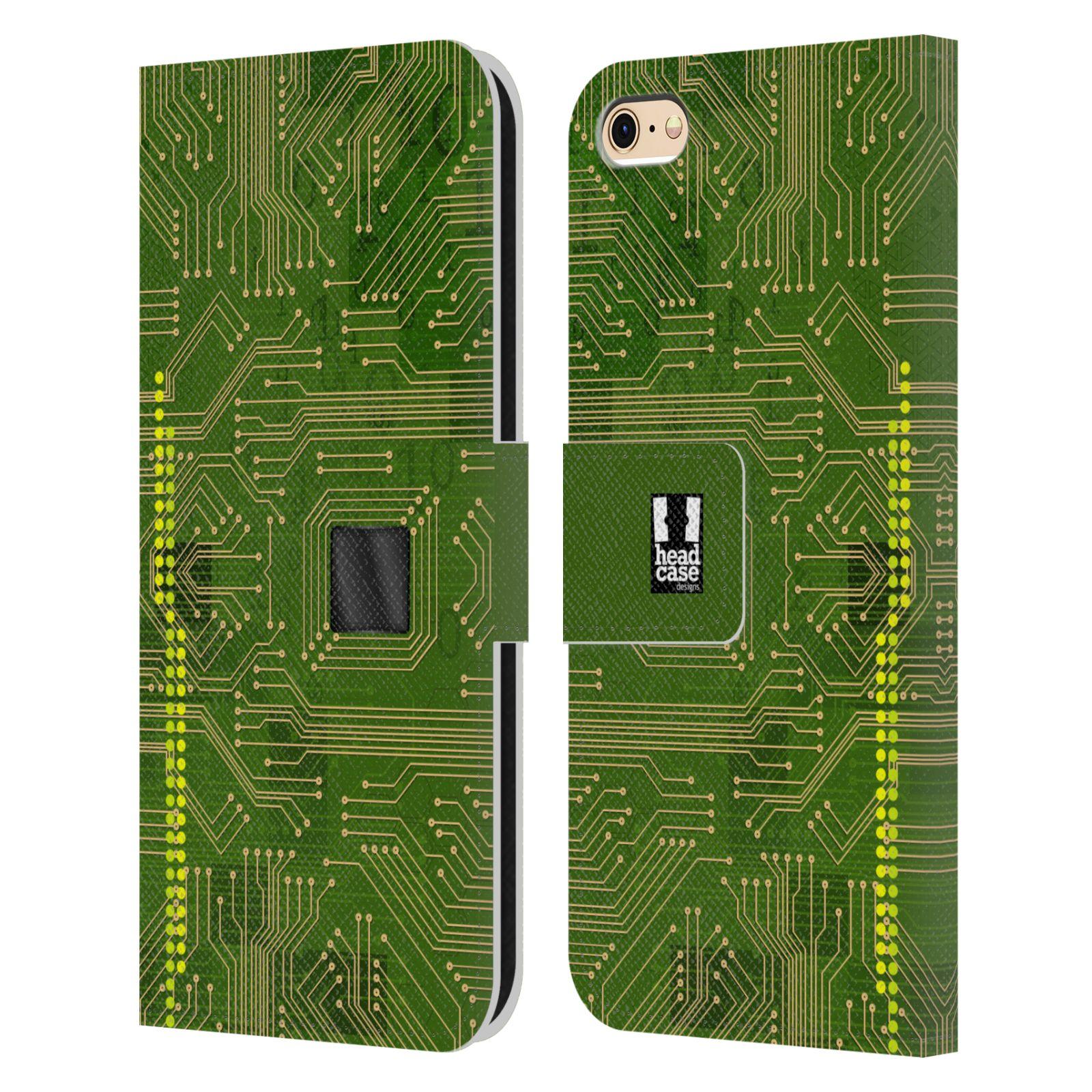 HEAD CASE Flipové pouzdro pro mobil Apple Iphone 6/6s počítač základní deska zelená barva