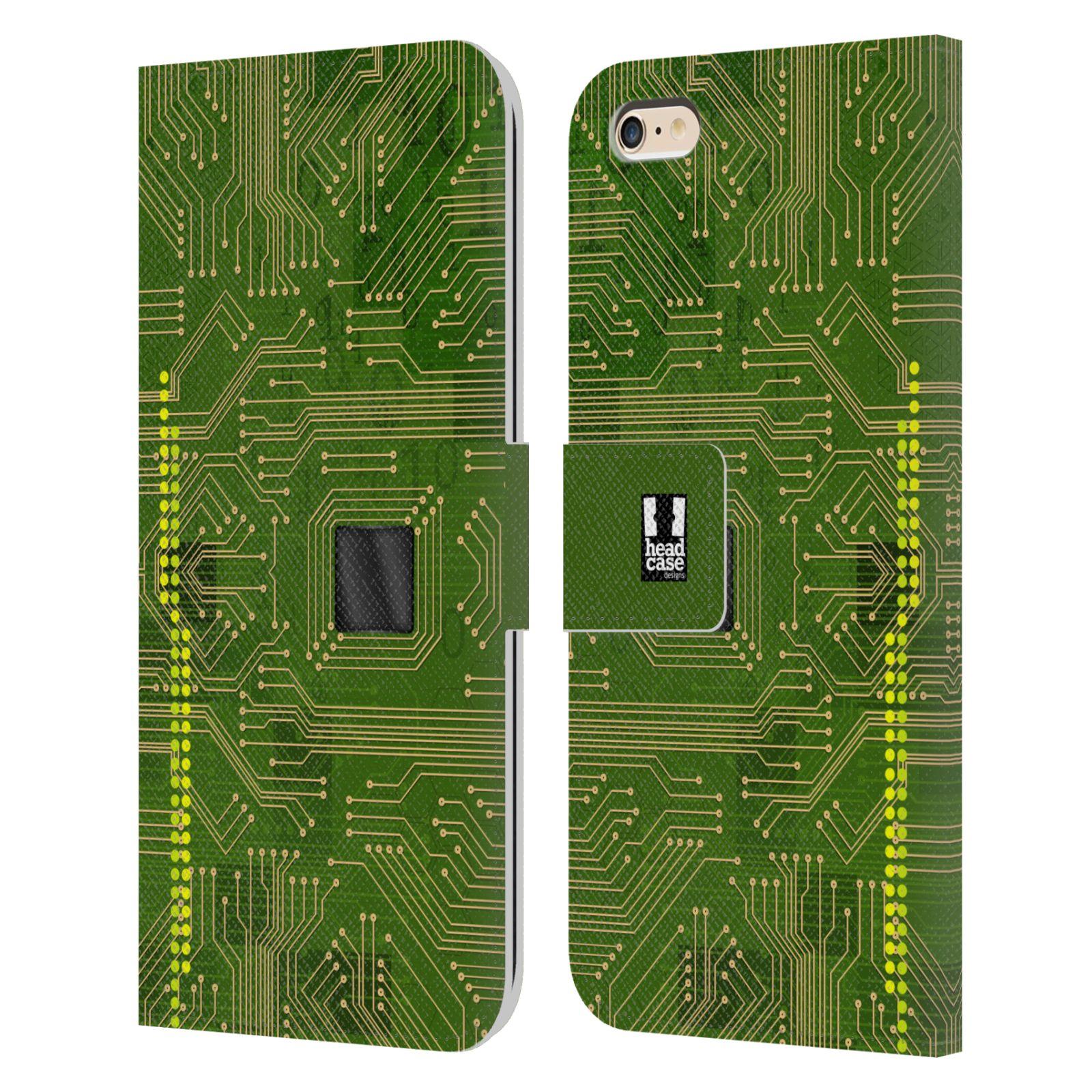 HEAD CASE Flipové pouzdro pro mobil Apple Iphone 6 PLUS / 6S PLUS počítač základní deska zelená barva