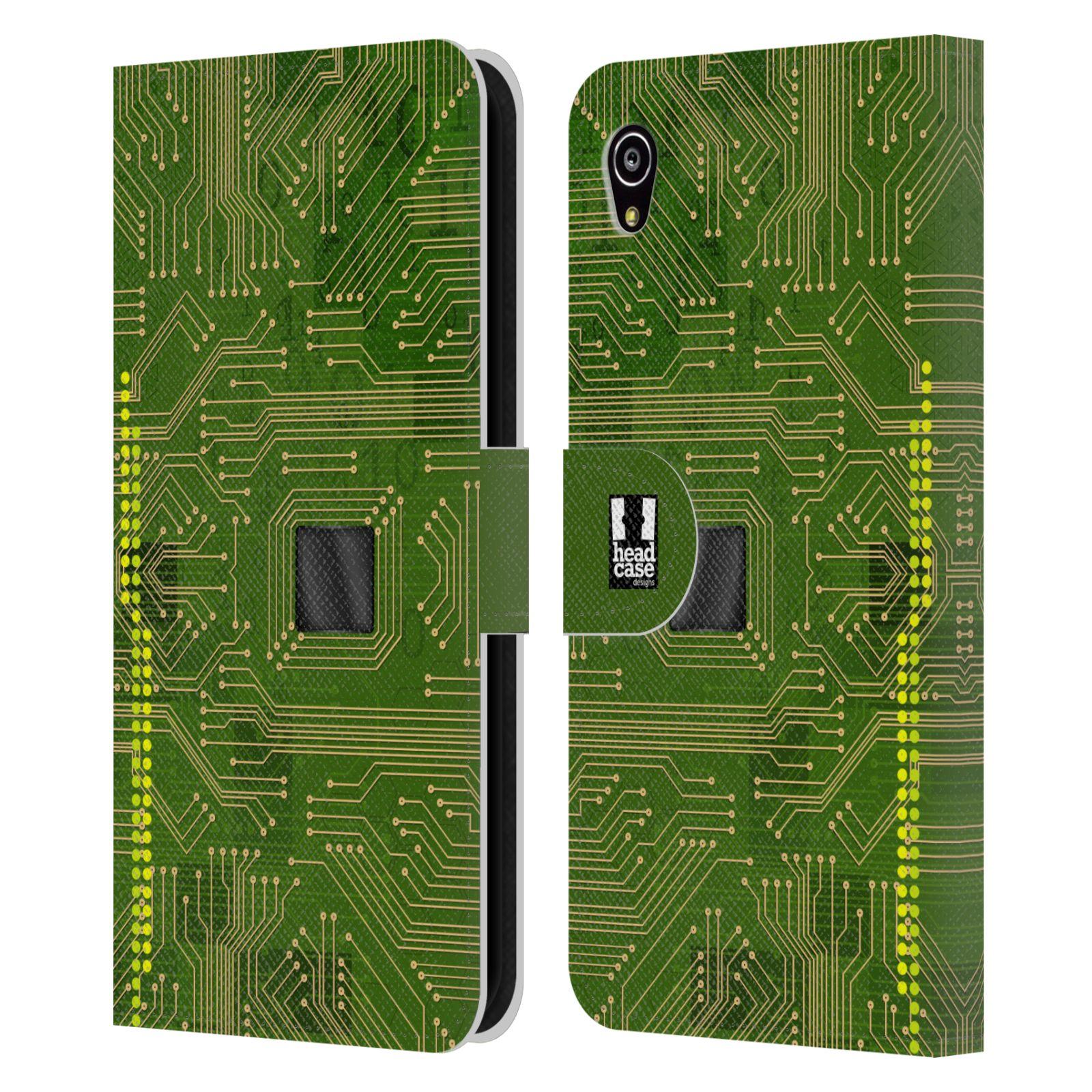 HEAD CASE Flipové pouzdro pro mobil SONY XPERIA M4 AQUA počítač základní deska zelená barva