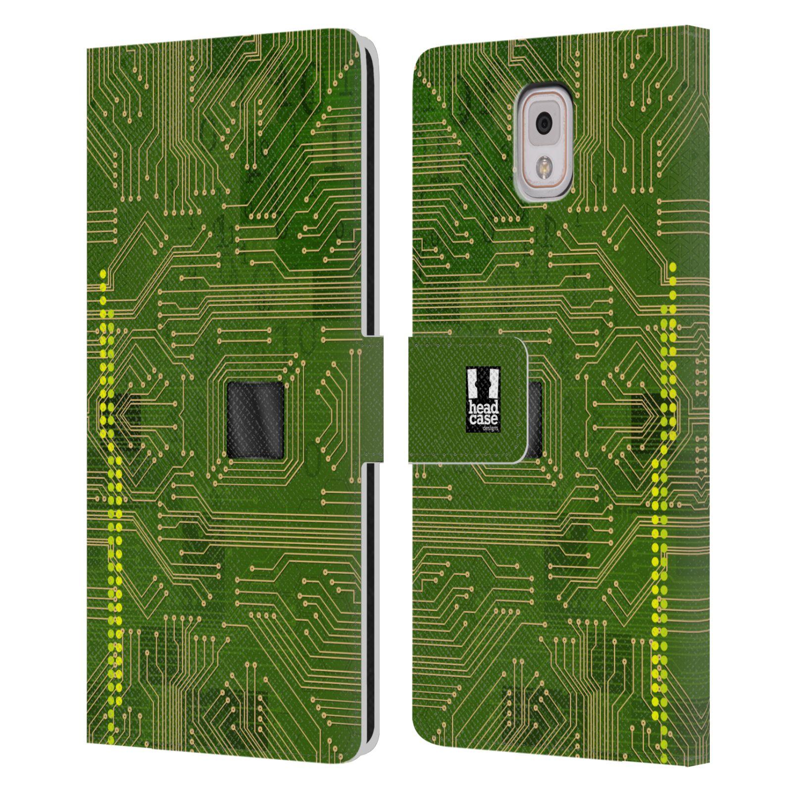 HEAD CASE Flipové pouzdro pro mobil Samsung Galaxy Note 3 N9005 počítač základní deska zelená barva