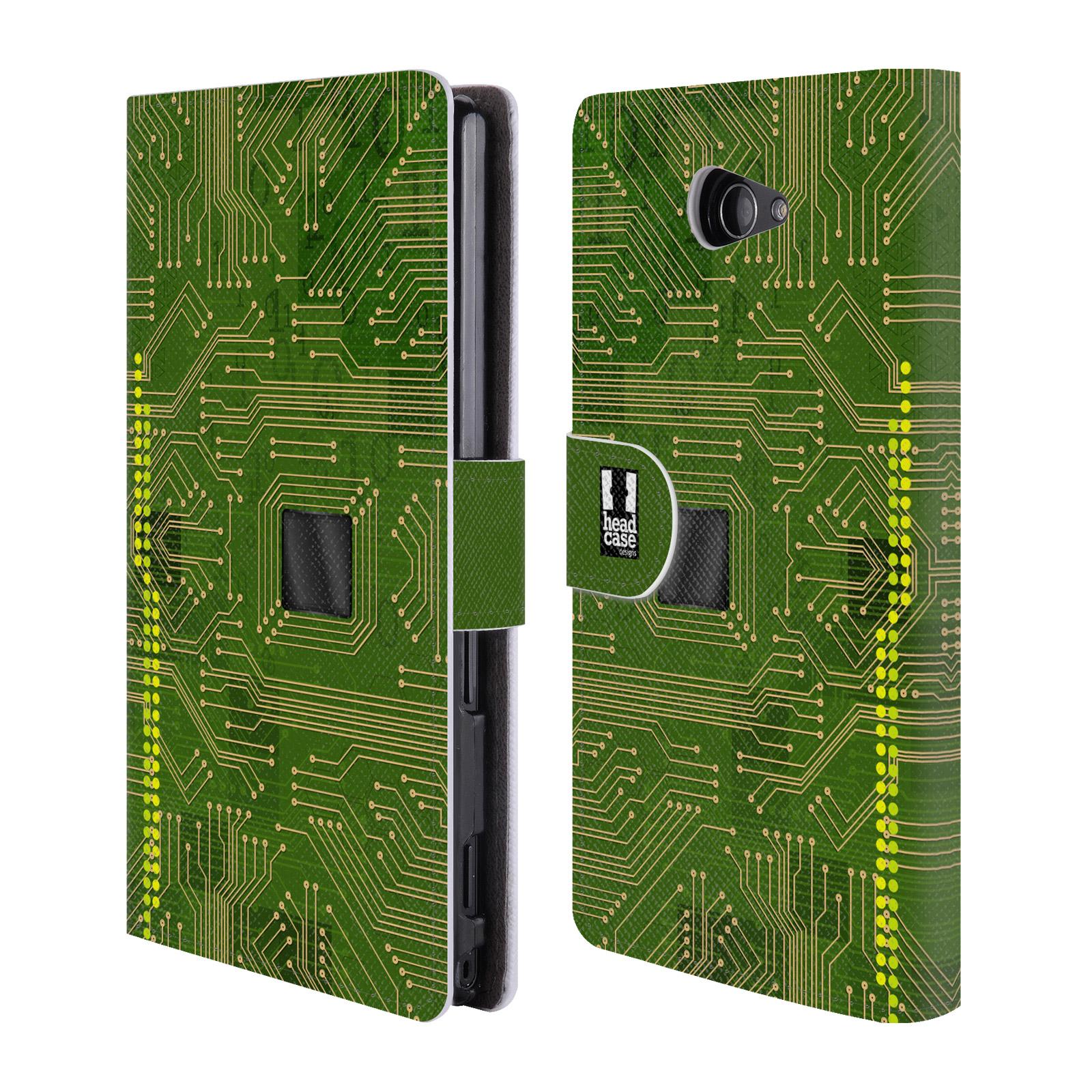 HEAD CASE Flipové pouzdro pro mobil SONY XPERIA M2 počítač základní deska zelená barva