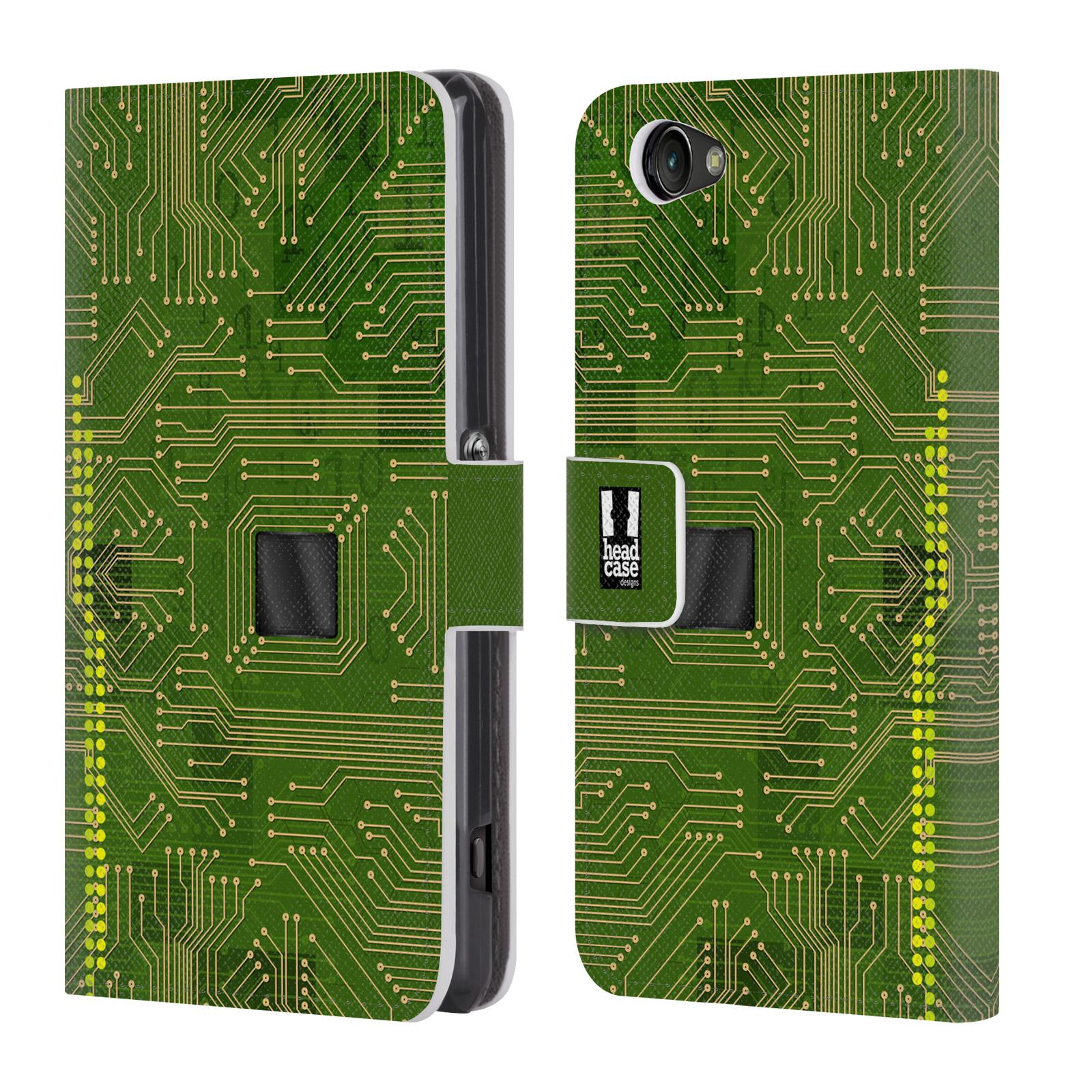 HEAD CASE Flipové pouzdro pro mobil SONY XPERIA Z1 COMPACT počítač základní deska zelená barva
