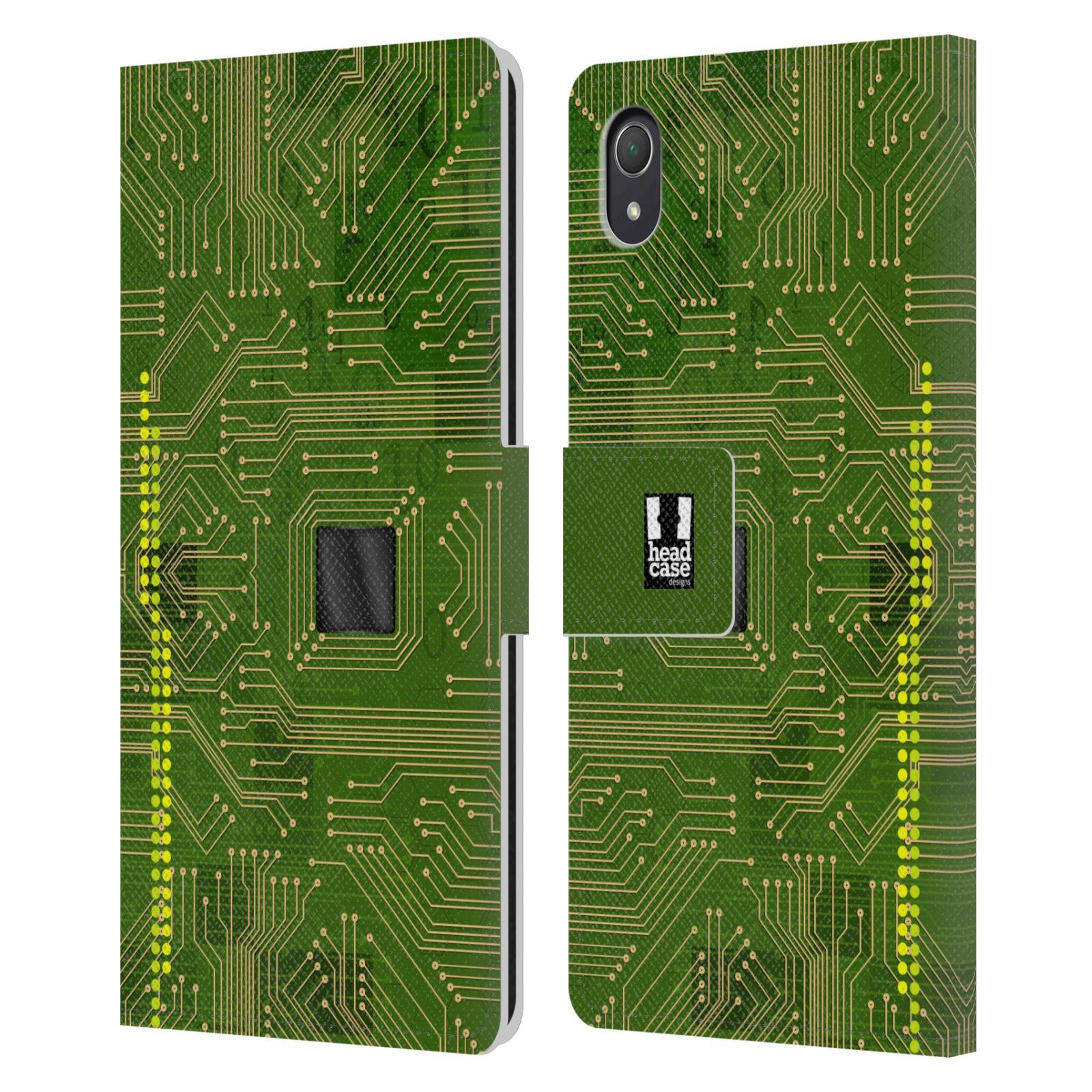 HEAD CASE Flipové pouzdro pro mobil SONY XPERIA Z2 počítač základní deska zelená barva