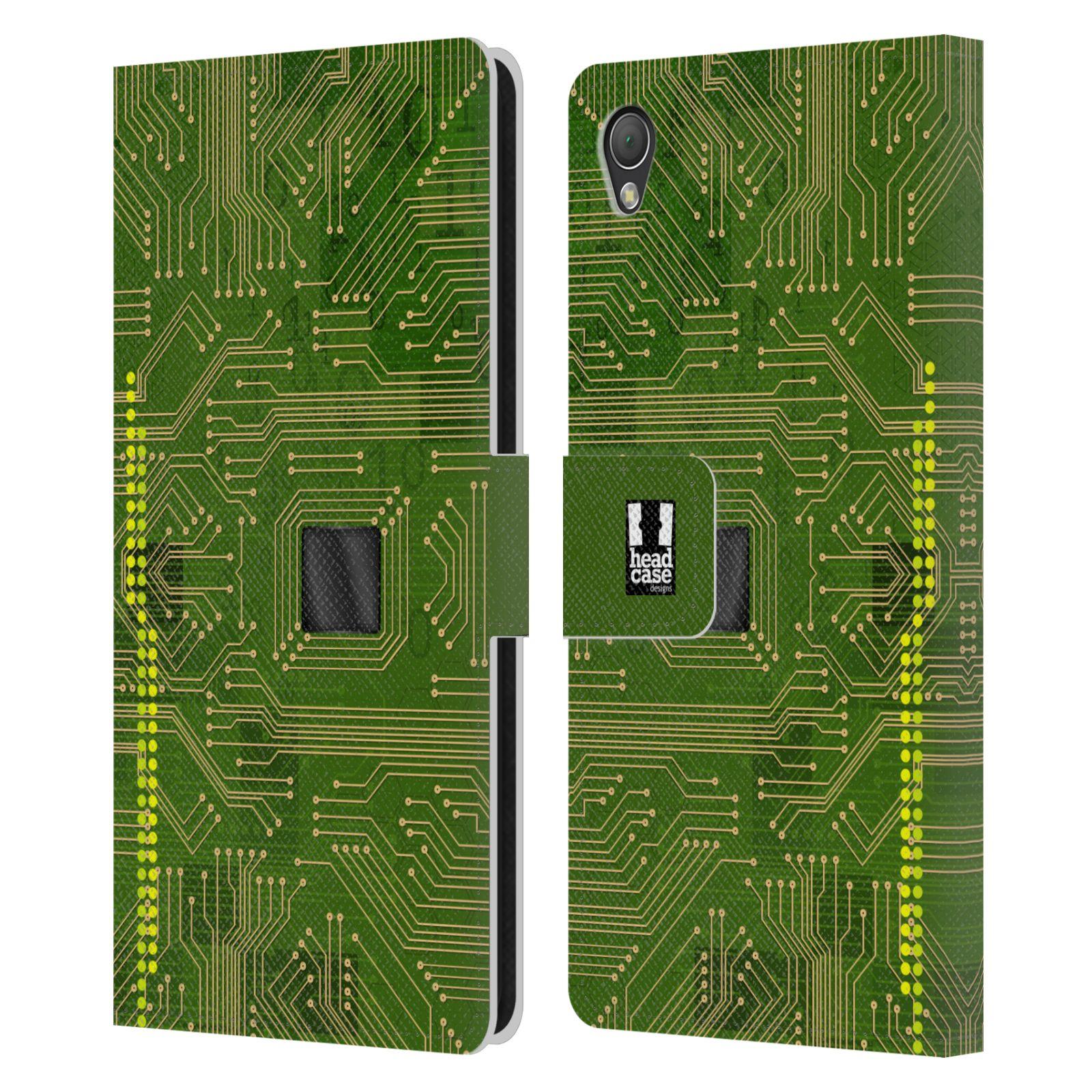 HEAD CASE Flipové pouzdro pro mobil SONY XPERIA Z3 počítač základní deska zelená barva