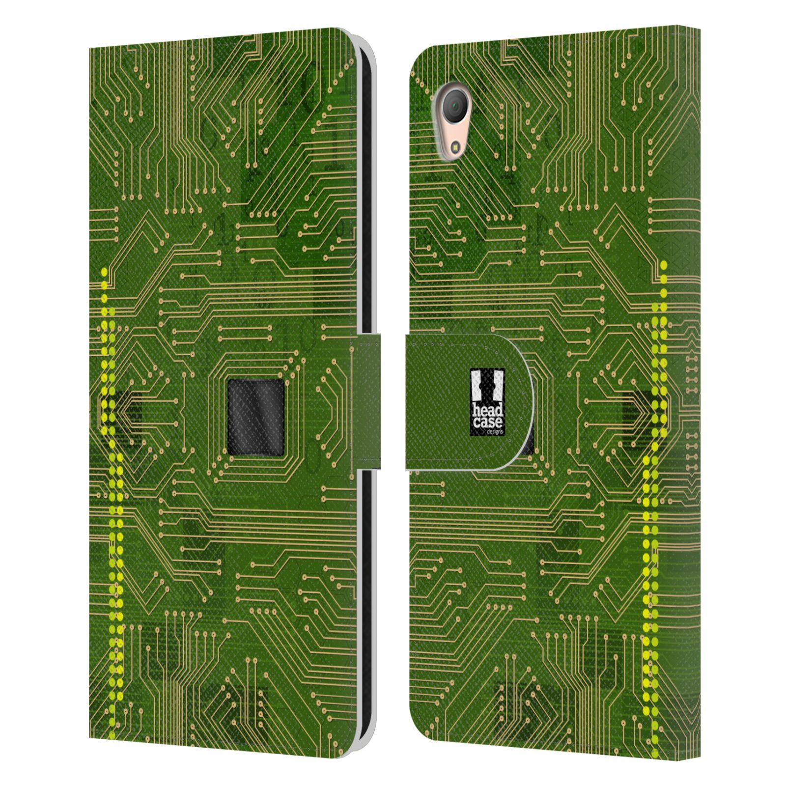 HEAD CASE Flipové pouzdro pro mobil SONY XPERIA Z3+ (PLUS) počítač základní deska zelená barva
