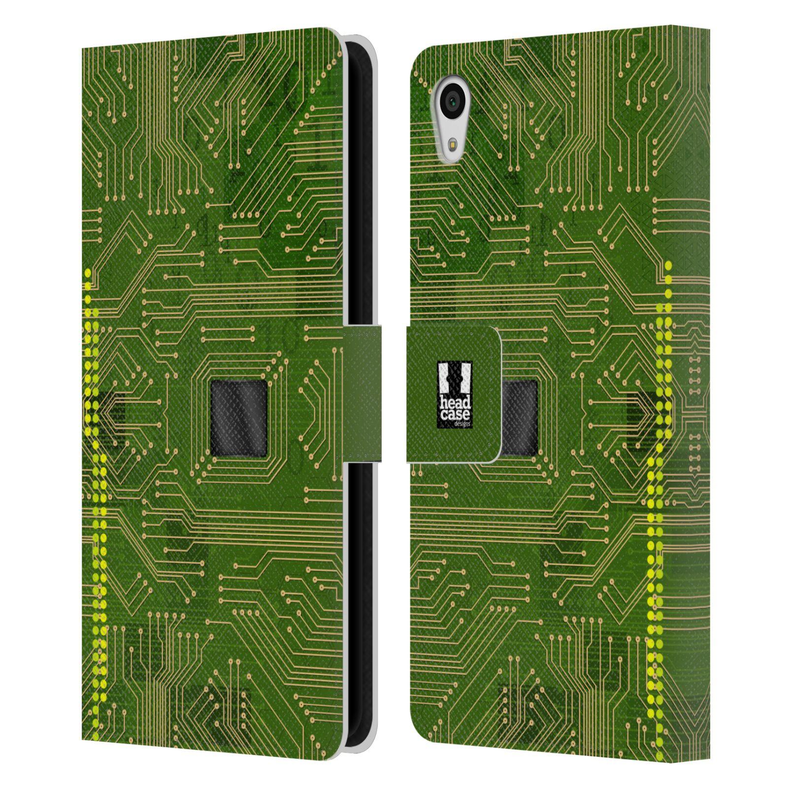 HEAD CASE Flipové pouzdro pro mobil SONY XPERIA Z5 počítač základní deska zelená barva