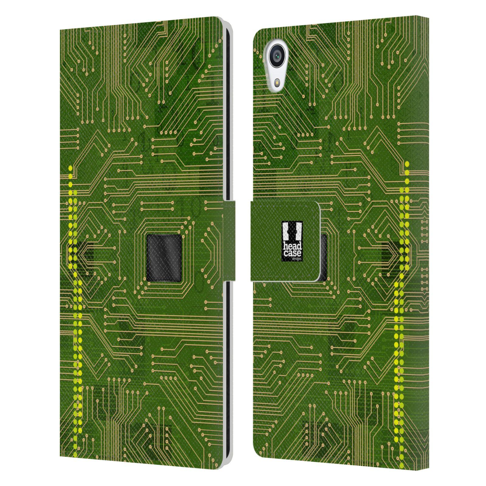 HEAD CASE Flipové pouzdro pro mobil SONY XPERIA Z5 PREMIUM počítač základní deska zelená barva