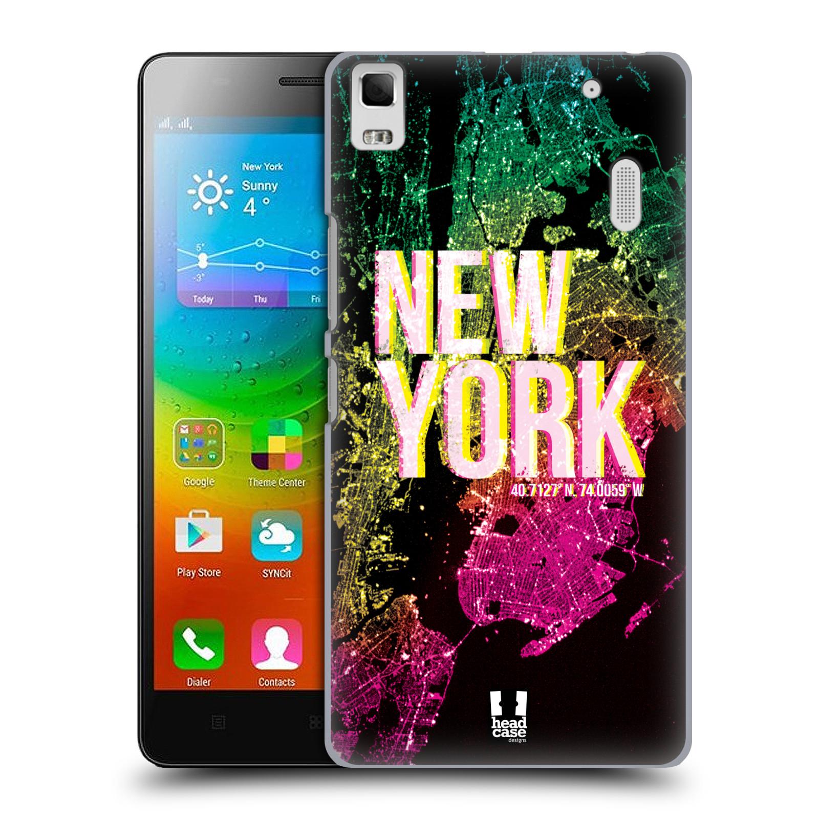 HEAD CASE pevný plastový obal na mobil LENOVO A7000 / A7000 DUAL / K3 NOTE vzor Světla známých měst, Satelitní snímky USA, NEW YORK
