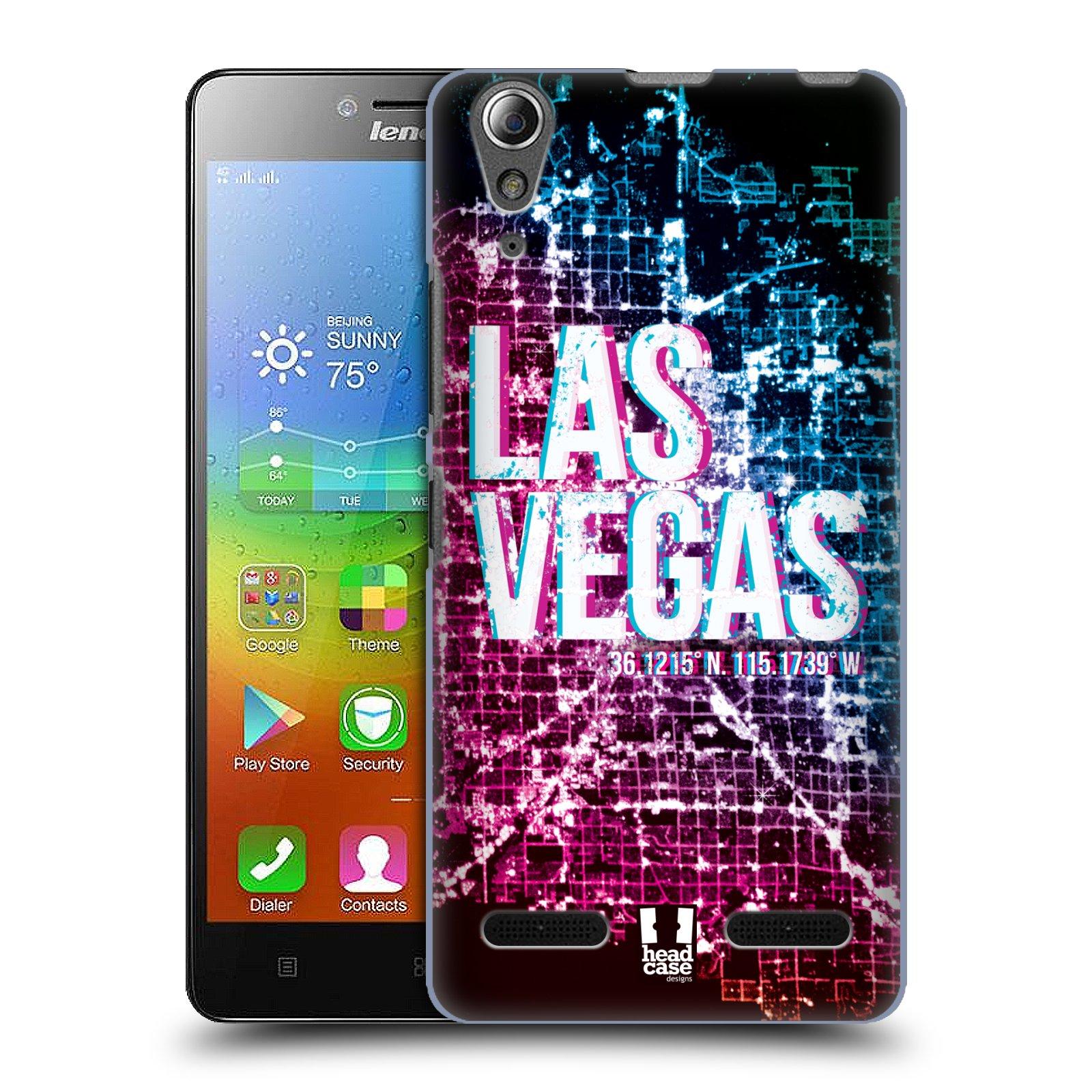 HEAD CASE pevný plastový obal na mobil LENOVO A6000 / A6000 PLUS vzor Světla známých měst, Satelitní snímky fialová a modrá USA, LAS VEGAS