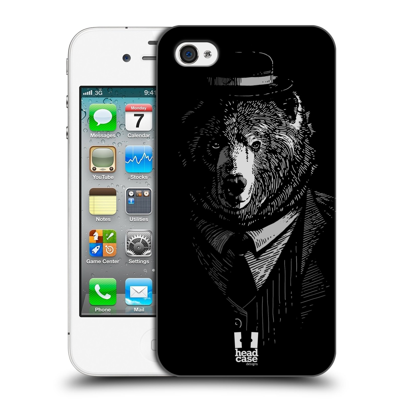 HEAD CASE plastový obal na mobil Apple Iphone 4/4S vzor Zvíře v obleku medvěd