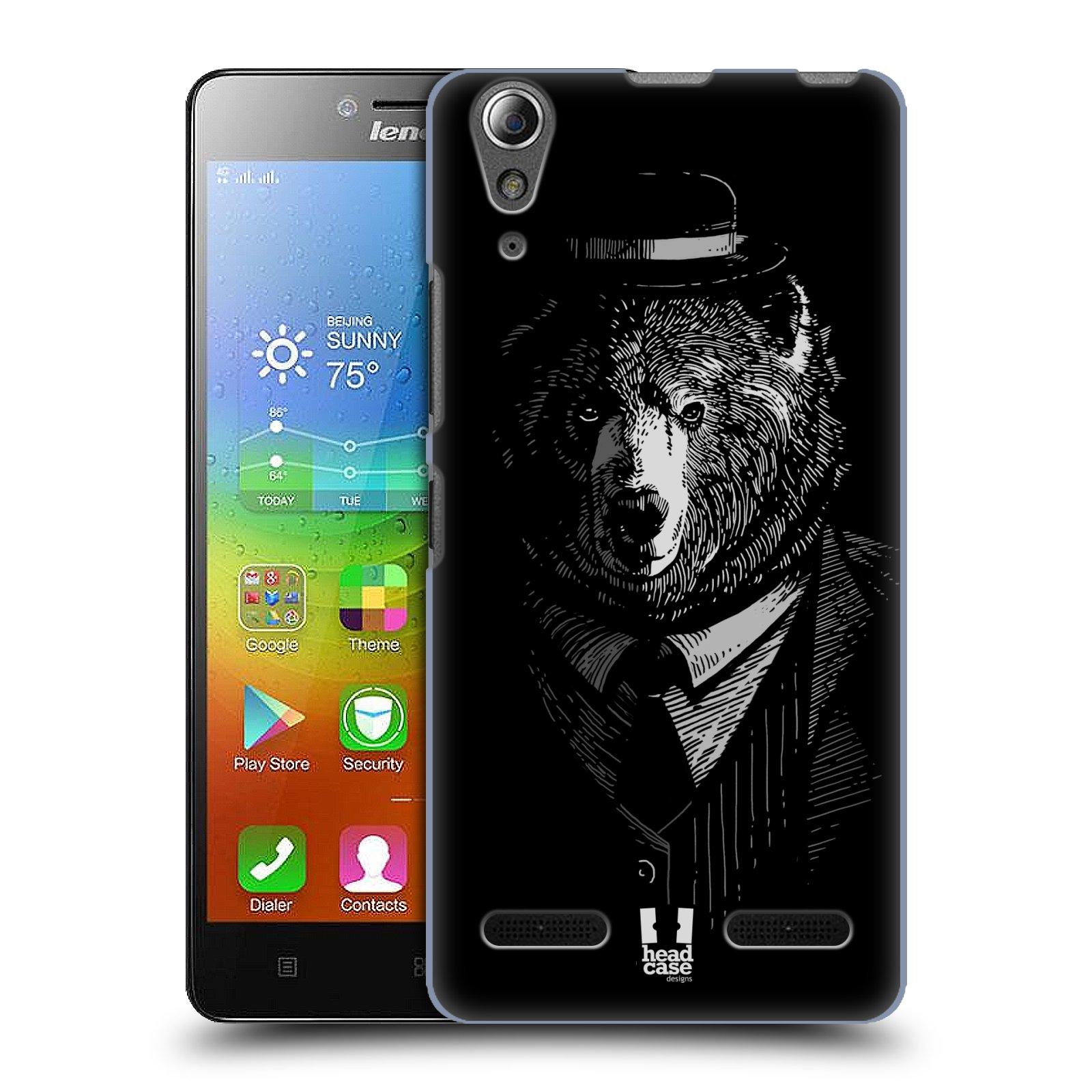 HEAD CASE pevný plastový obal na mobil LENOVO A6000 / A6000 PLUS vzor Zvíře v obleku medvěd