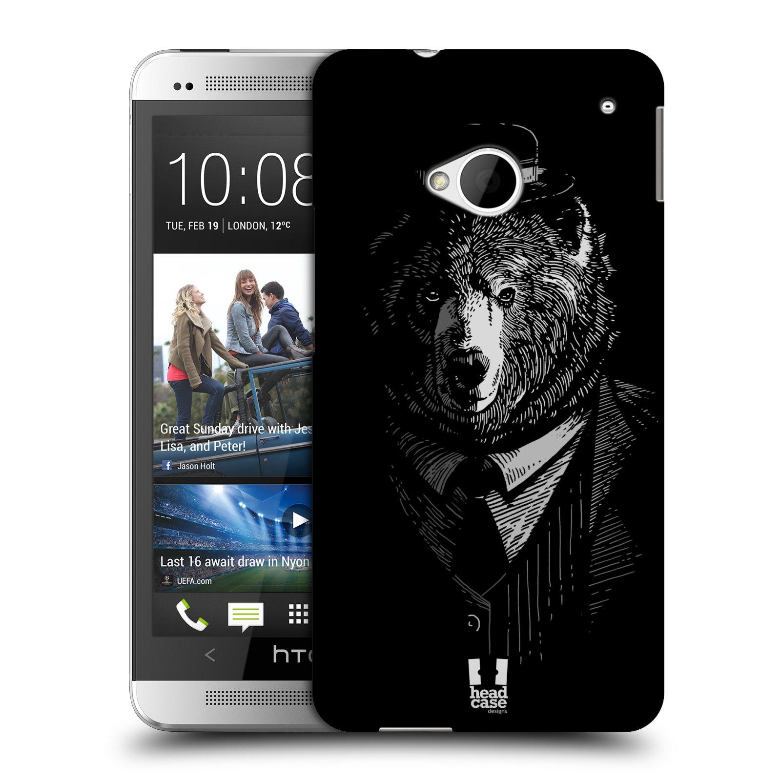 HEAD CASE plastový obal na mobil HTC One (M7) vzor Zvíře v obleku medvěd