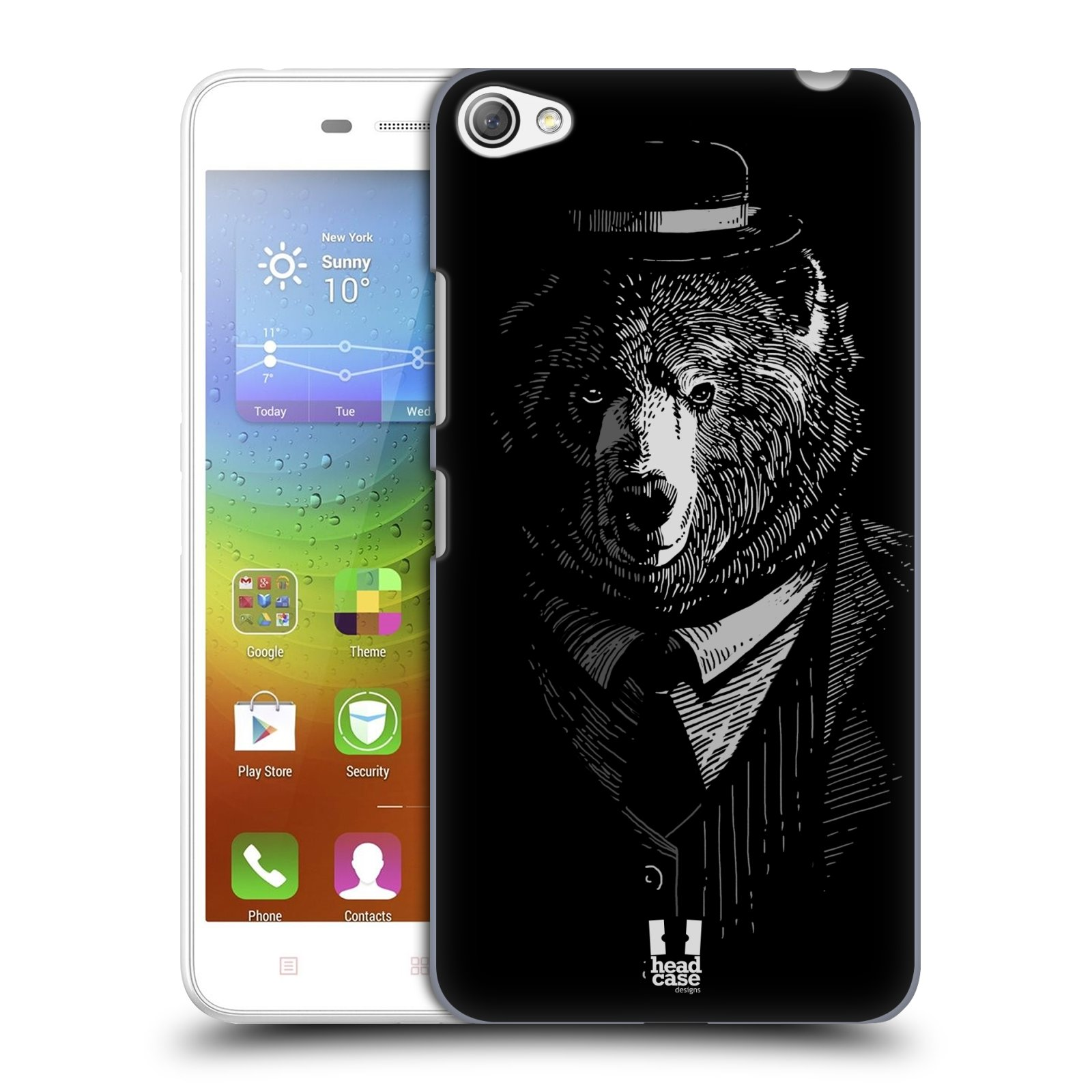 HEAD CASE pevný plastový obal na mobil LENOVO S60 / LENOVO S60 DUAL SIM vzor Zvíře v obleku medvěd
