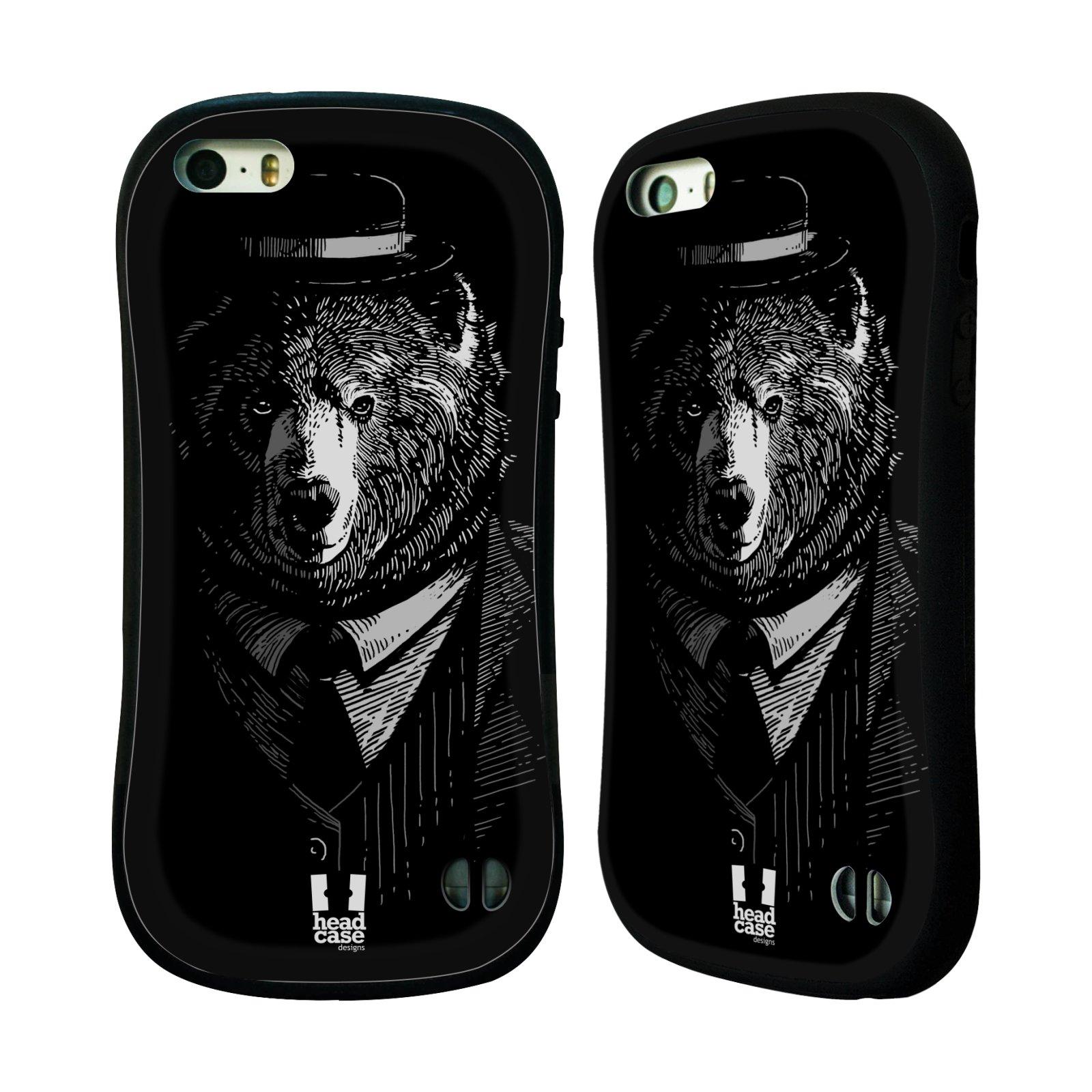 HEAD CASE silikon/plast odolný obal na mobil Apple Iphone 5/5S vzor Zvíře v obleku medvěd