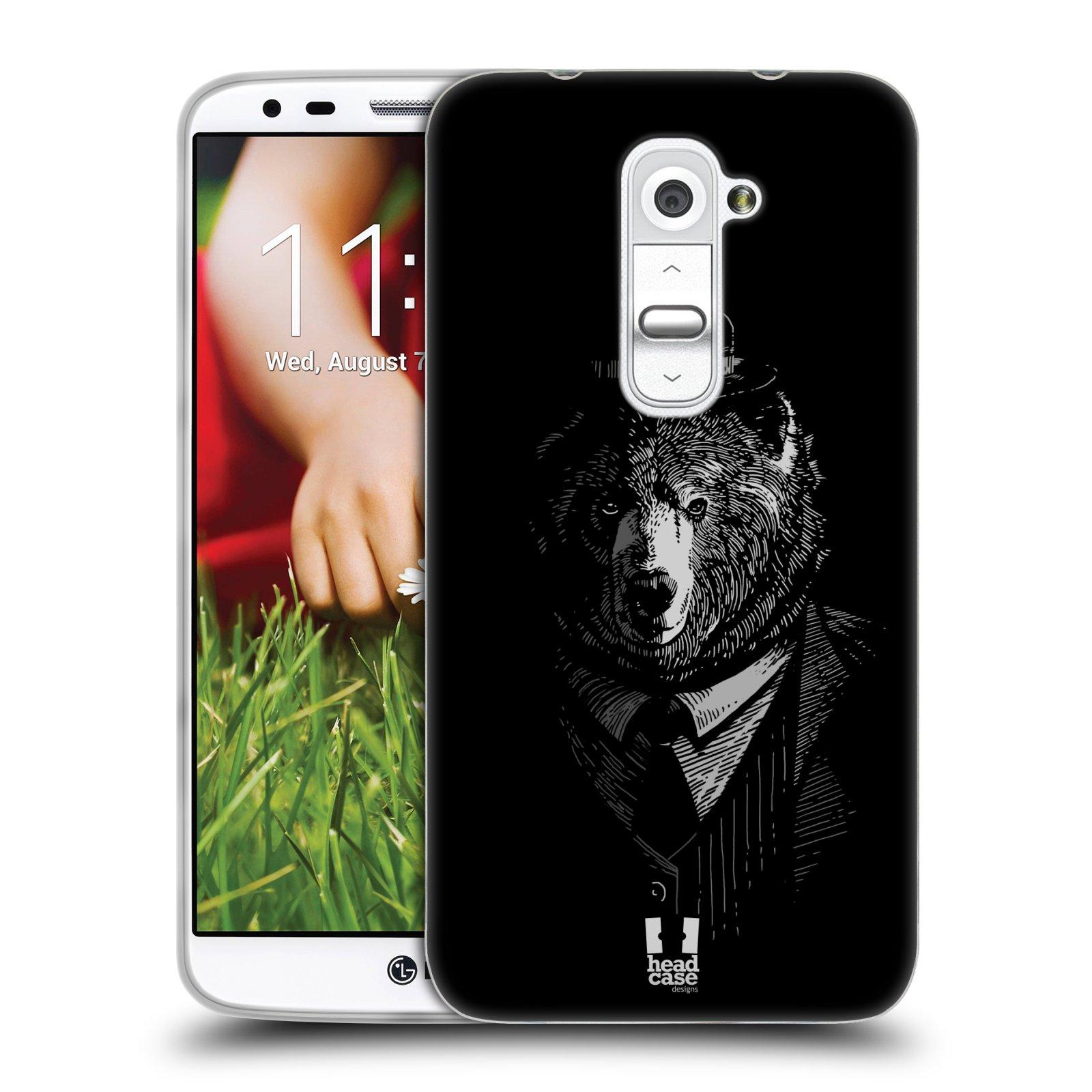 HEAD CASE silikonový obal na mobil LG G2 vzor Zvíře v obleku medvěd