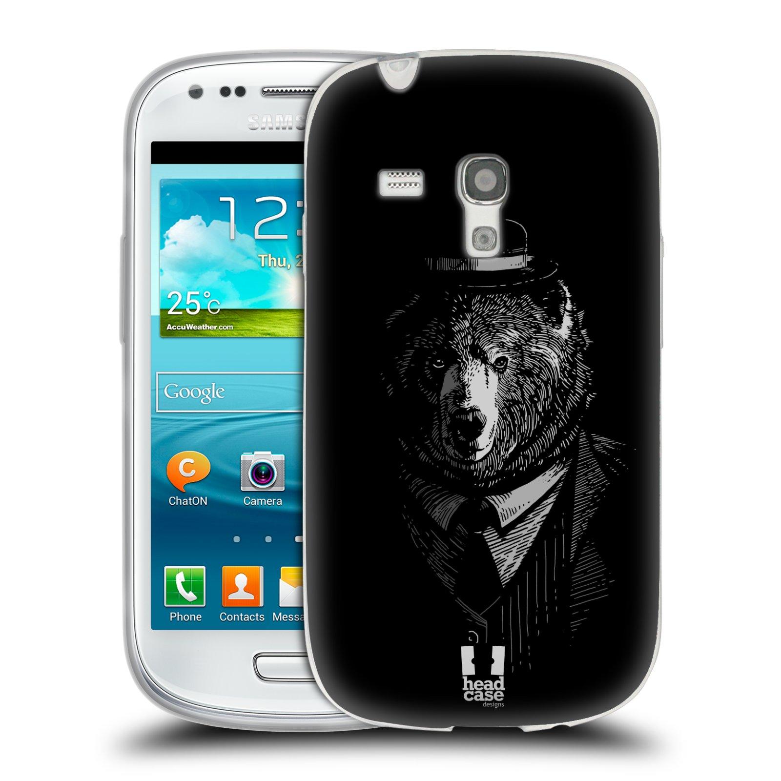 HEAD CASE silikonový obal na mobil Samsung Galaxy S3 MINI i8190 vzor Zvíře v obleku medvěd