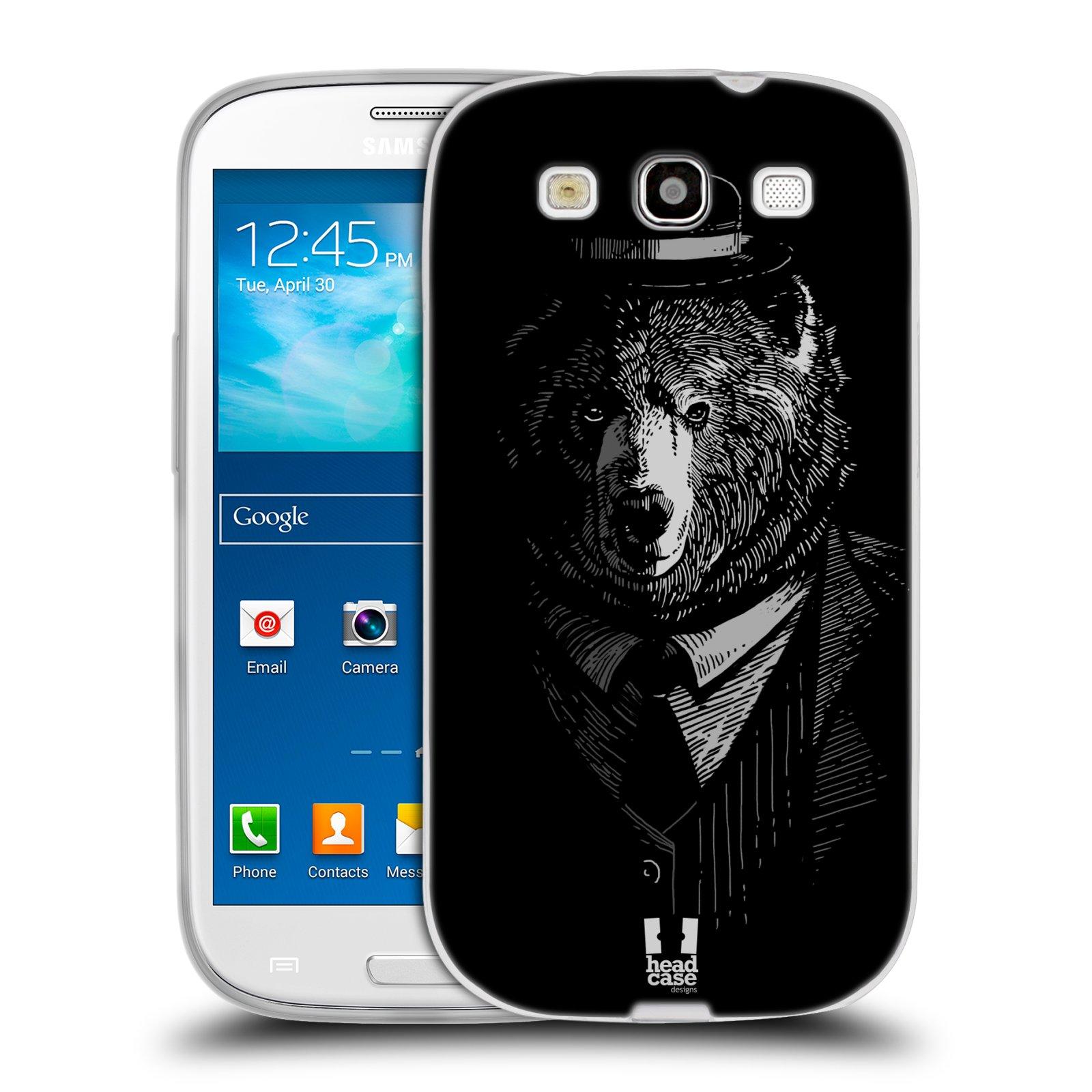 HEAD CASE silikonový obal na mobil Samsung Galaxy S3 i9300 vzor Zvíře v obleku medvěd