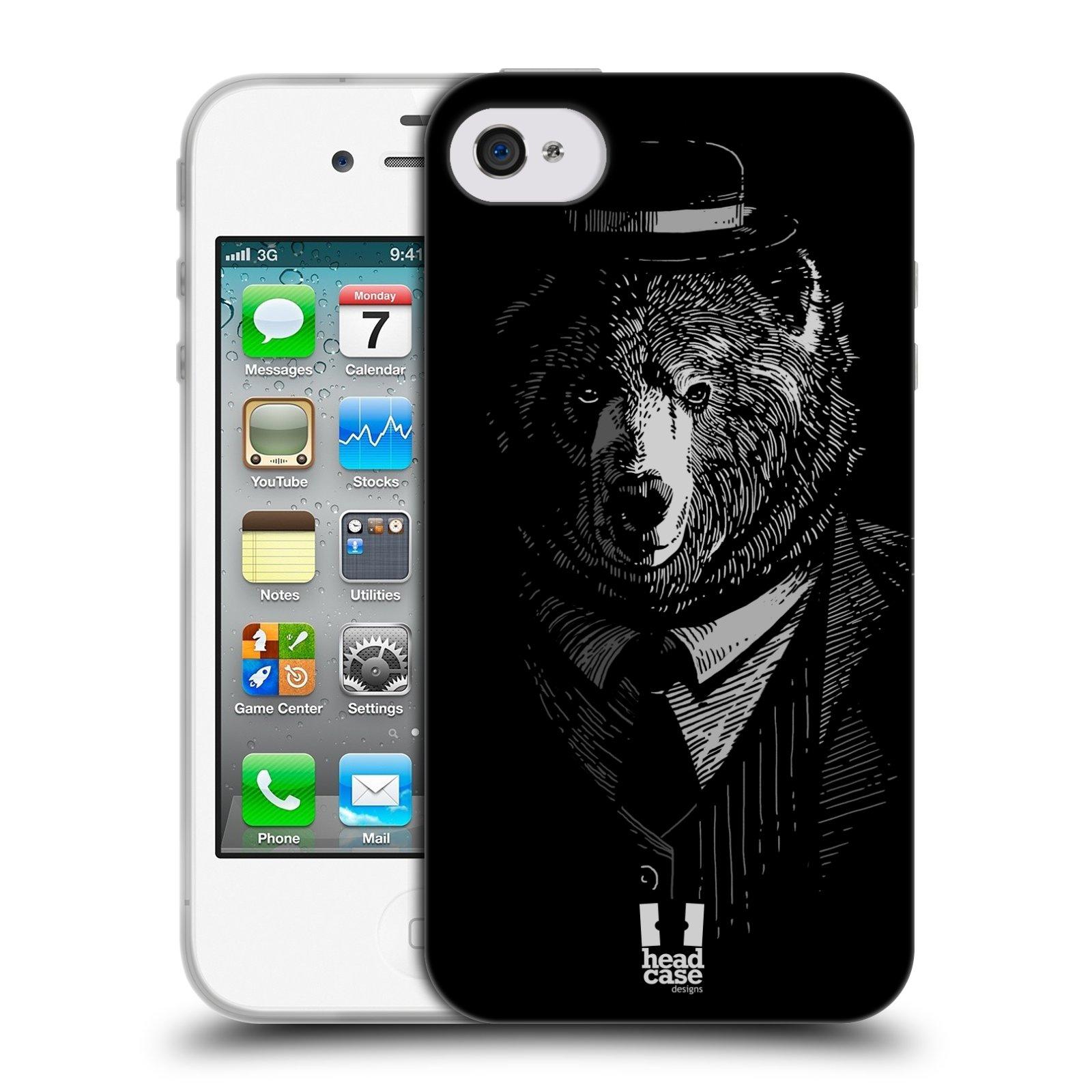 HEAD CASE silikonový obal na mobil Apple Iphone 4/4S vzor Zvíře v obleku medvěd