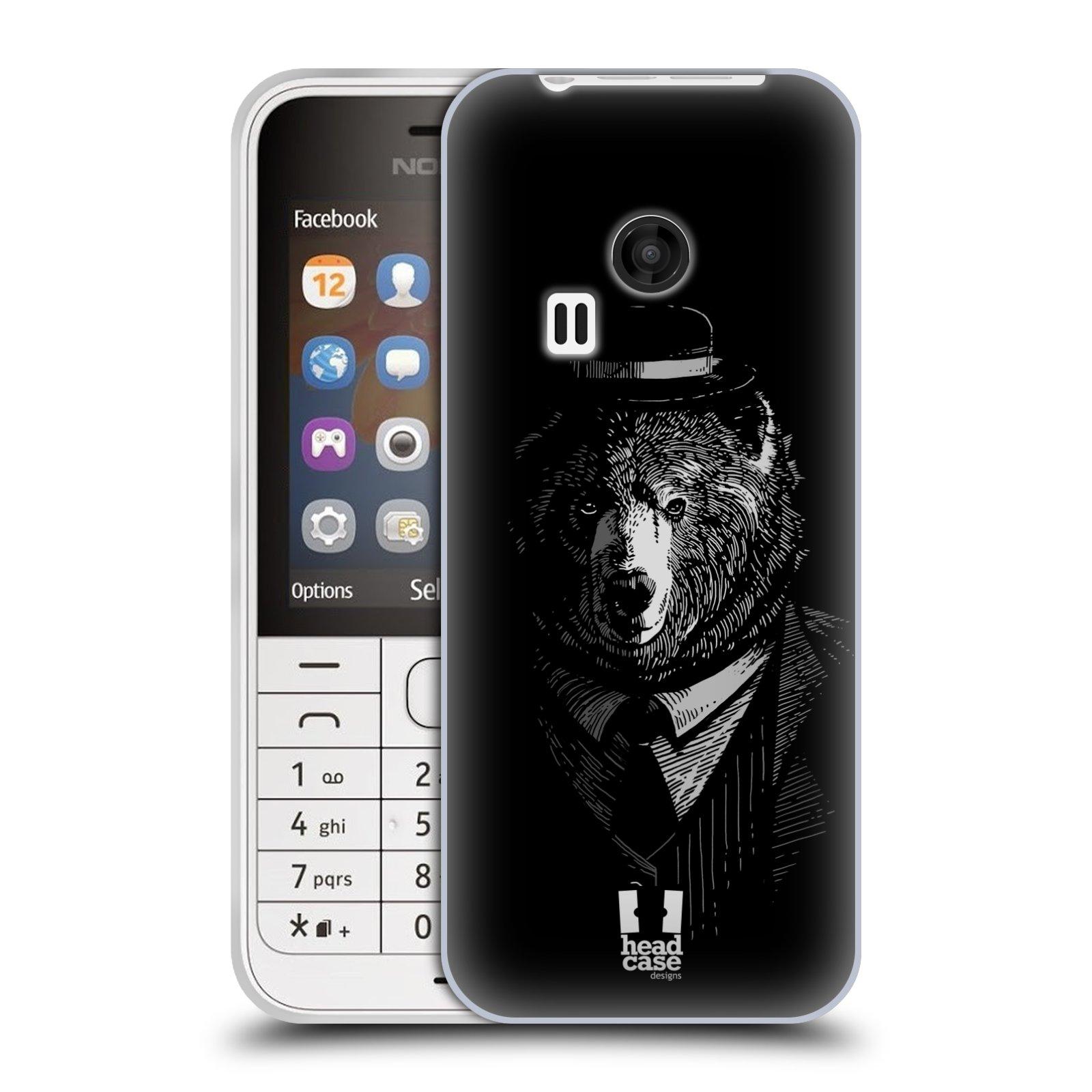 HEAD CASE silikonový obal na mobil NOKIA 220 / NOKIA 220 DUAL SIM vzor Zvíře v obleku medvěd