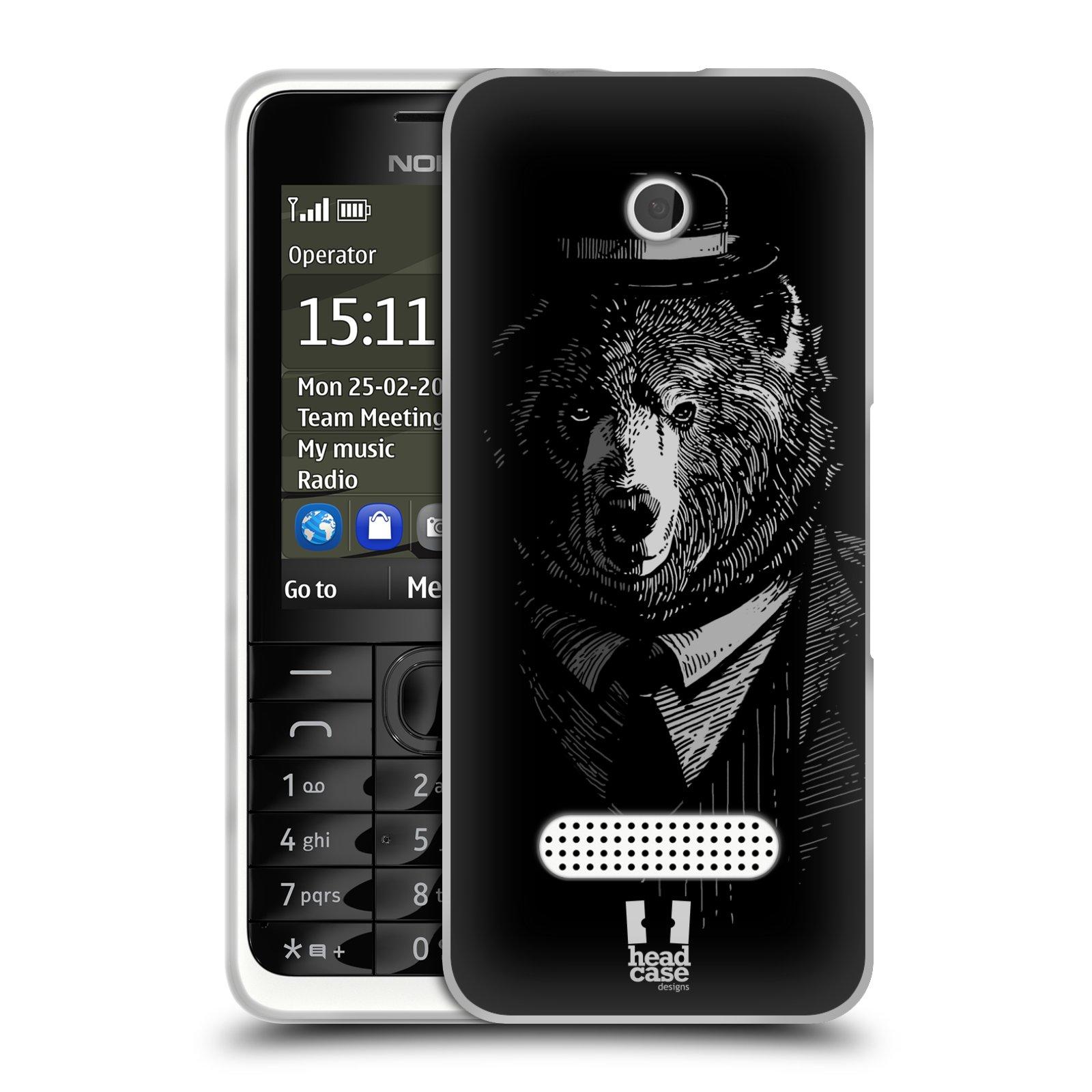 HEAD CASE silikonový obal na mobil NOKIA 301 vzor Zvíře v obleku medvěd