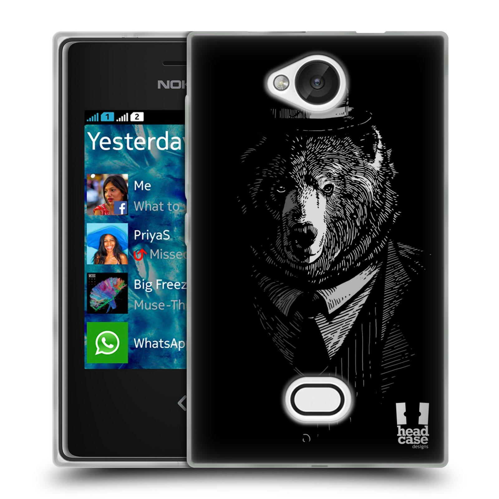HEAD CASE silikonový obal na mobil NOKIA Asha 503 vzor Zvíře v obleku medvěd