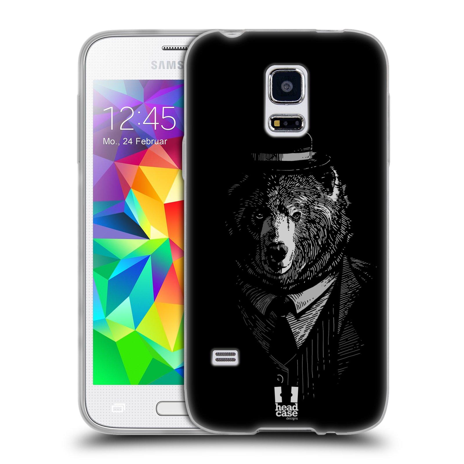 HEAD CASE silikonový obal na mobil Samsung Galaxy S5 MINI vzor Zvíře v obleku medvěd