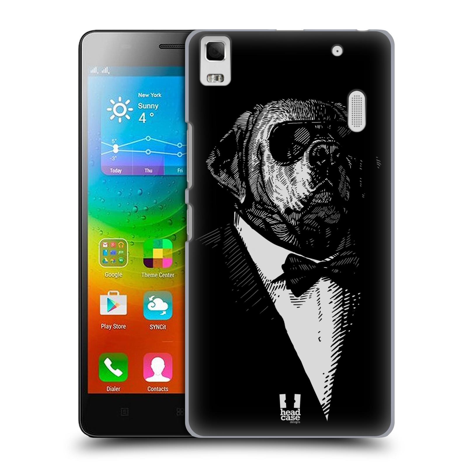HEAD CASE pevný plastový obal na mobil LENOVO A7000 / A7000 DUAL / K3 NOTE vzor Zvíře v obleku pes