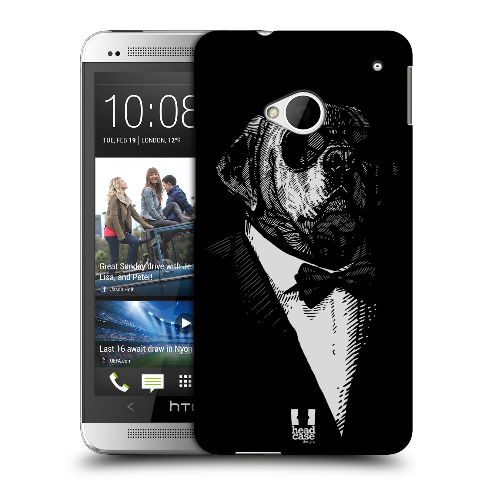 HEAD CASE plastový obal na mobil HTC One (M7) vzor Zvíře v obleku pes