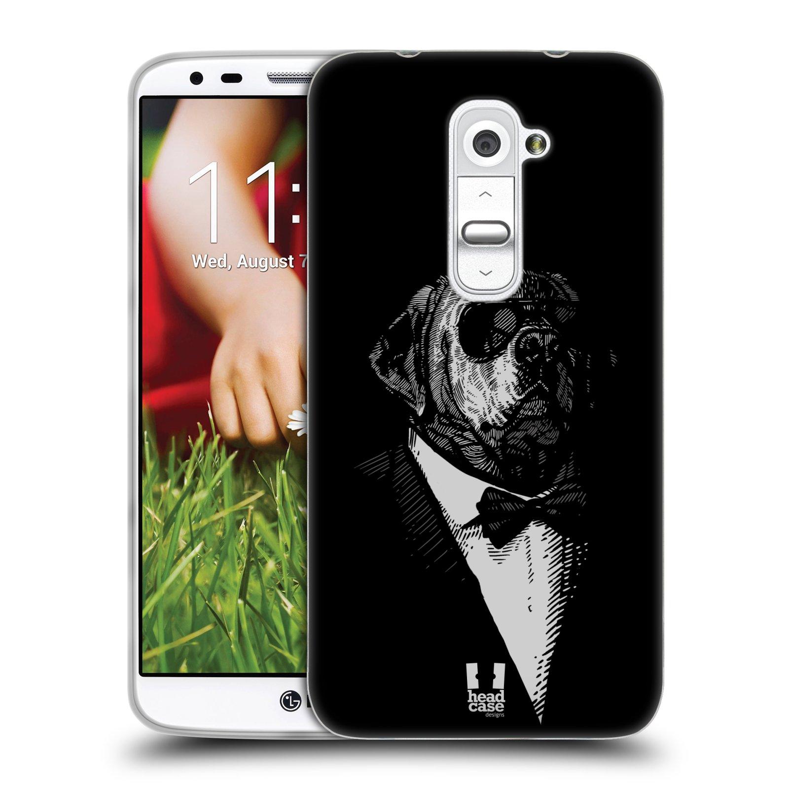 HEAD CASE silikonový obal na mobil LG G2 vzor Zvíře v obleku pes