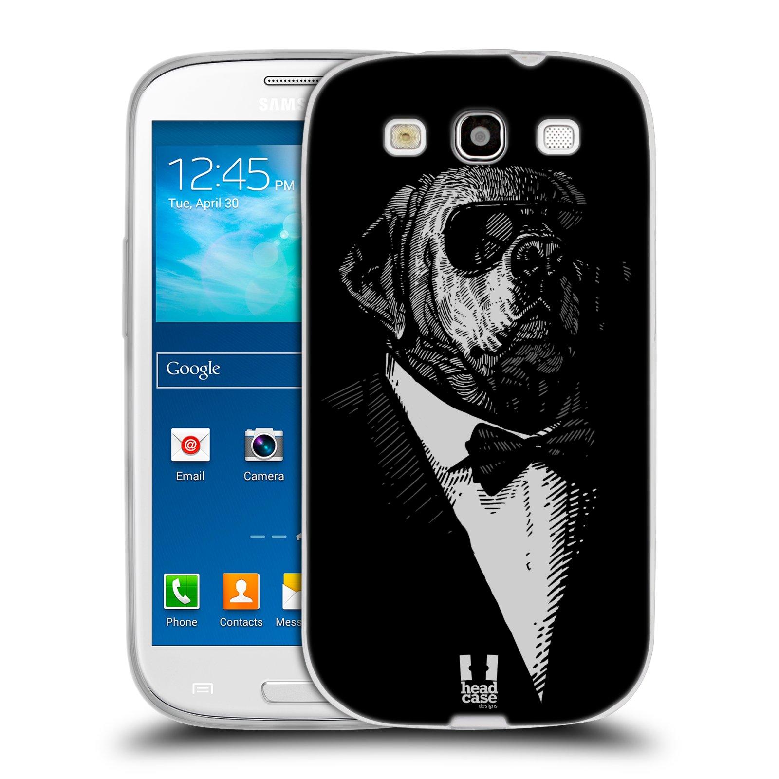 HEAD CASE silikonový obal na mobil Samsung Galaxy S3 i9300 vzor Zvíře v obleku pes