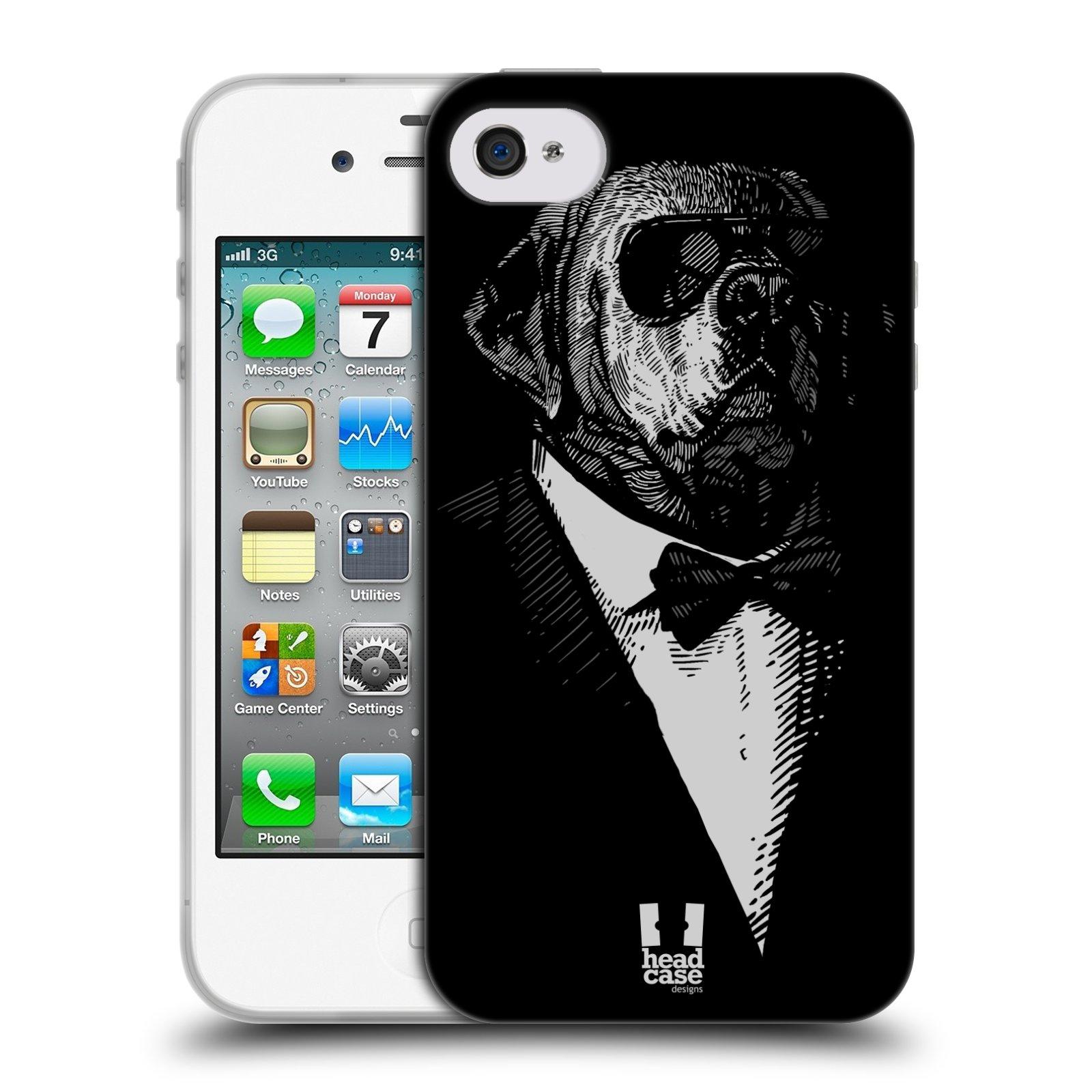 HEAD CASE silikonový obal na mobil Apple Iphone 4/4S vzor Zvíře v obleku pes