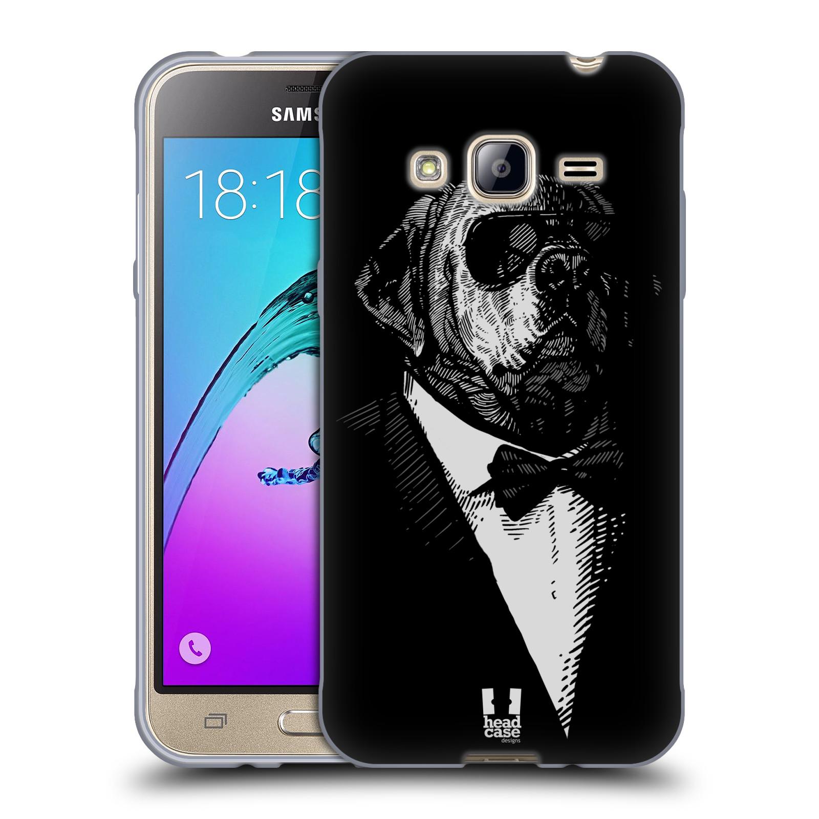 HEAD CASE silikonový obal na mobil Samsung Galaxy J3, J3 2016 vzor Zvíře v obleku pes