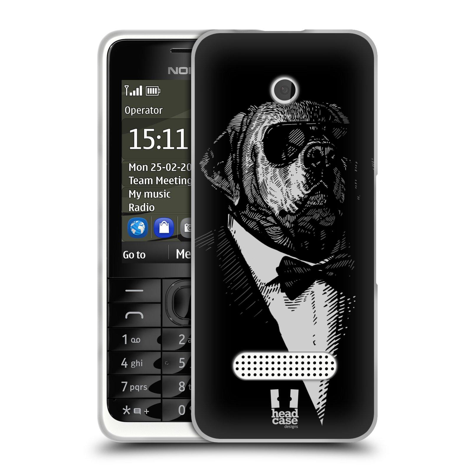 HEAD CASE silikonový obal na mobil NOKIA 301 vzor Zvíře v obleku pes