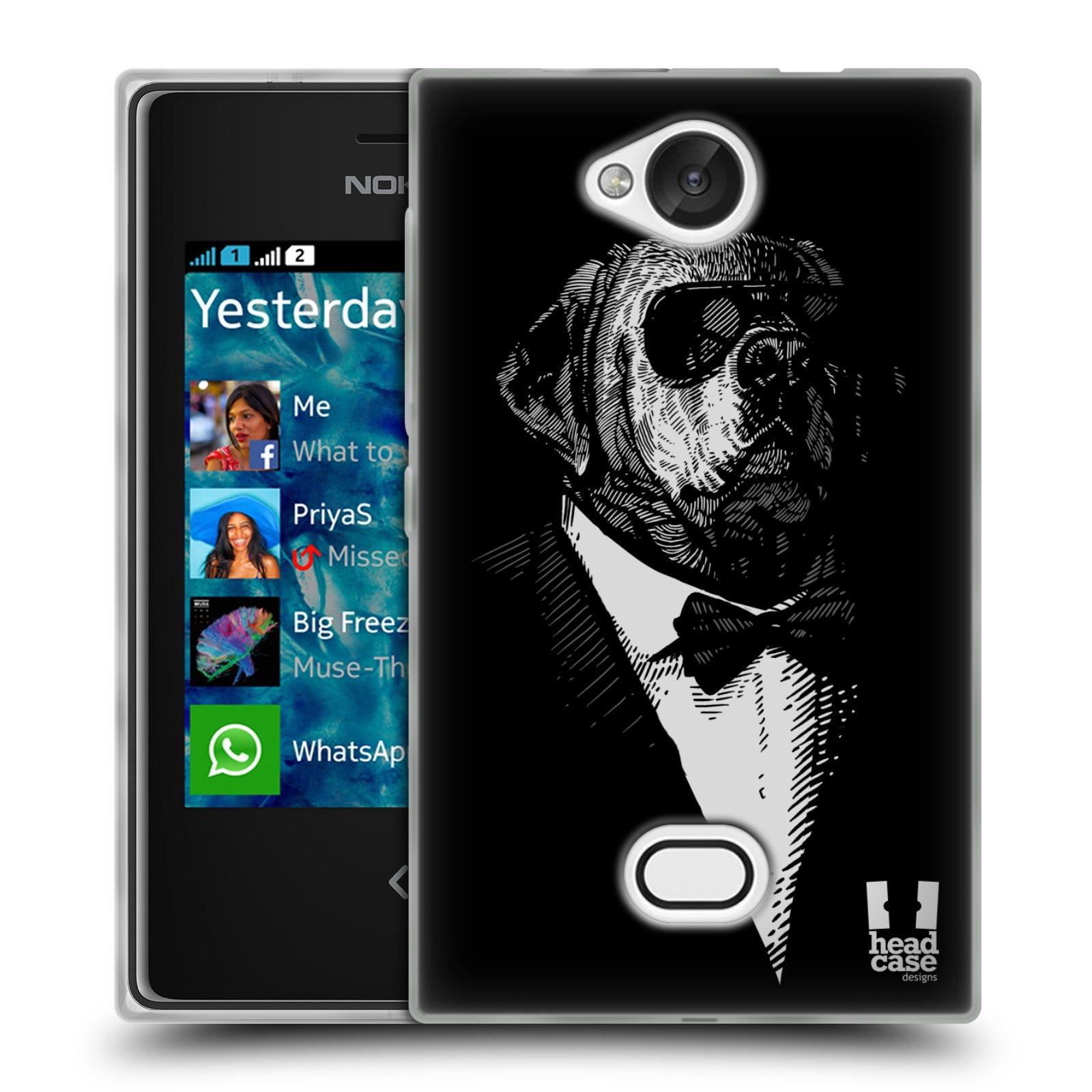HEAD CASE silikonový obal na mobil NOKIA Asha 503 vzor Zvíře v obleku pes