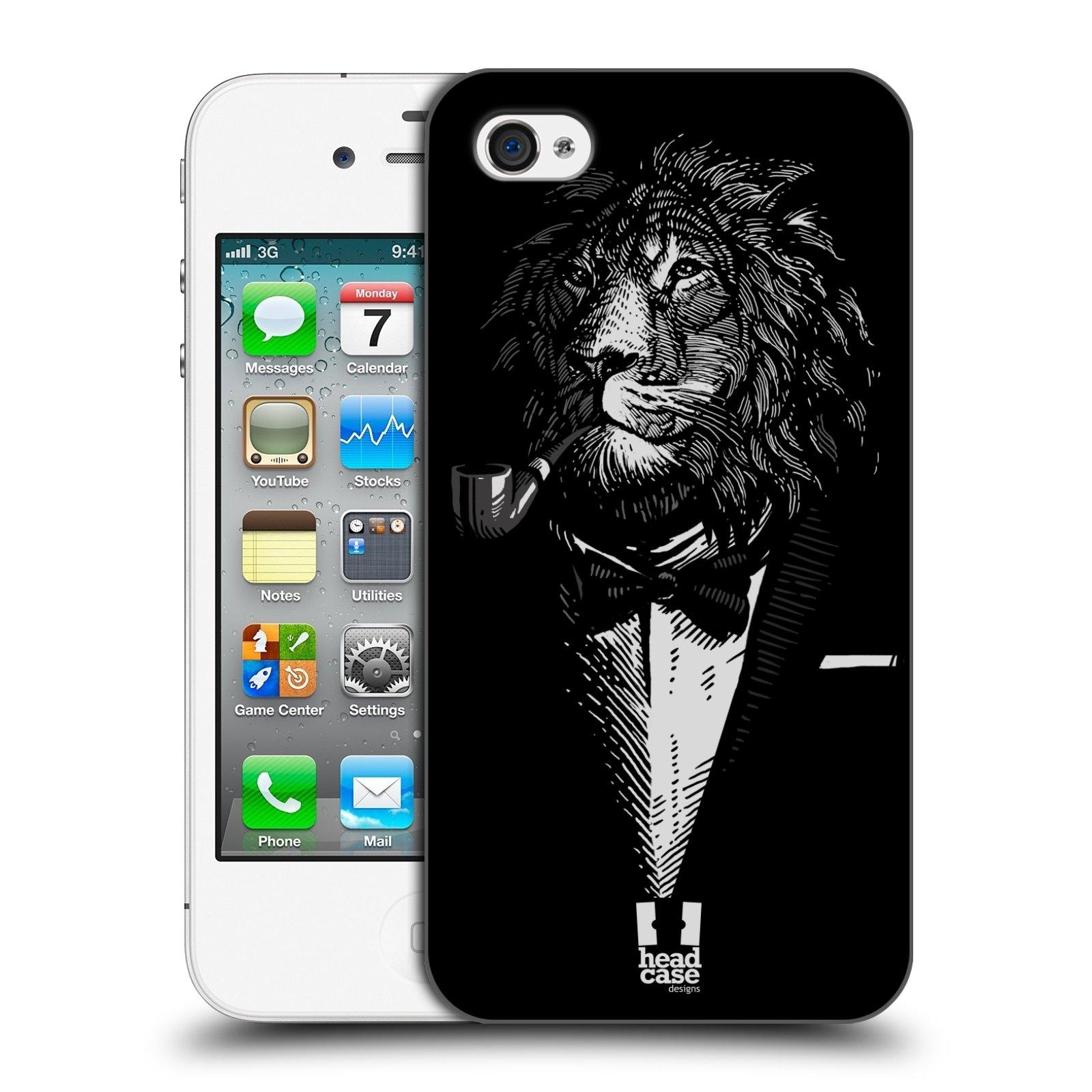 HEAD CASE plastový obal na mobil Apple Iphone 4/4S vzor Zvíře v obleku lev