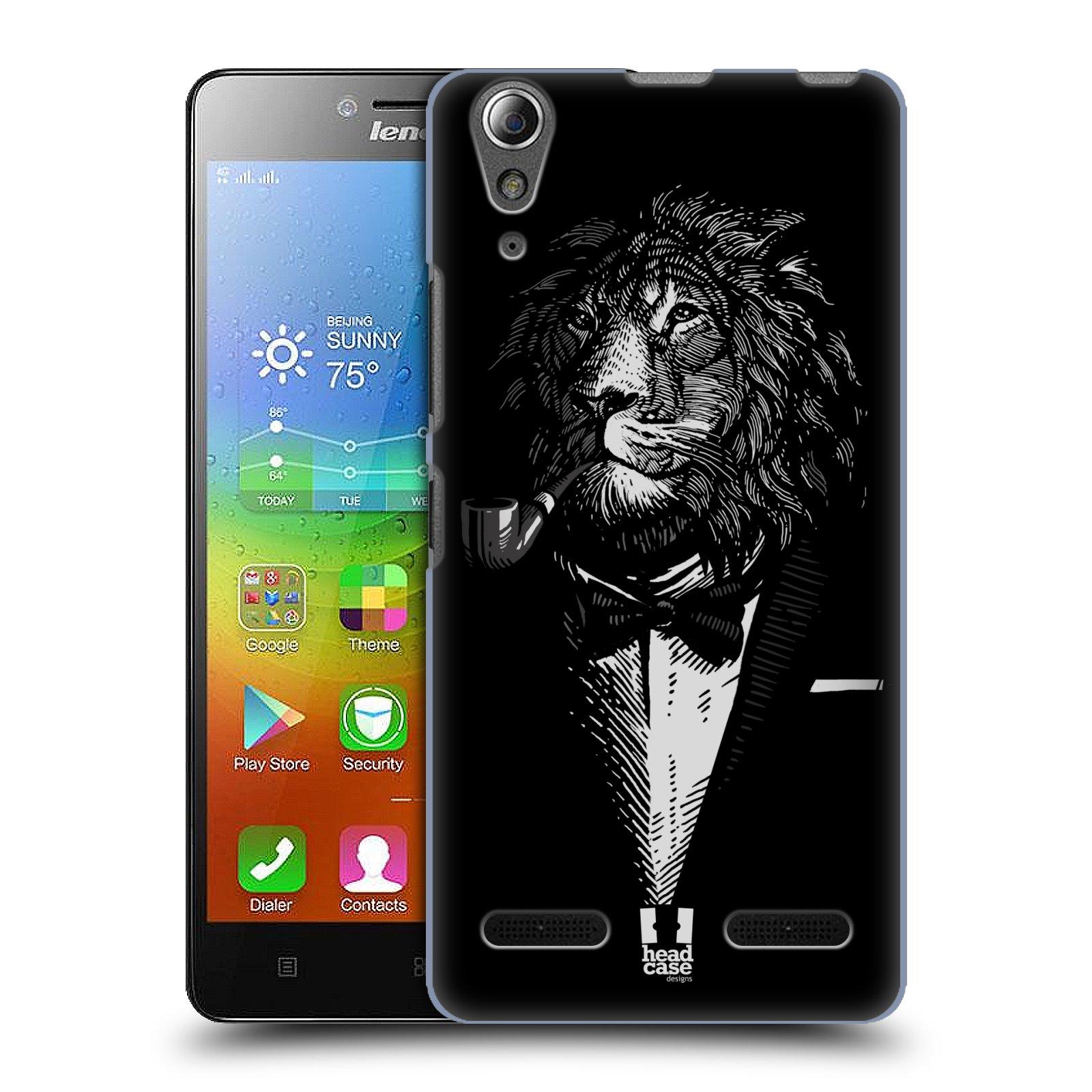 HEAD CASE pevný plastový obal na mobil LENOVO A6000 / A6000 PLUS vzor Zvíře v obleku lev