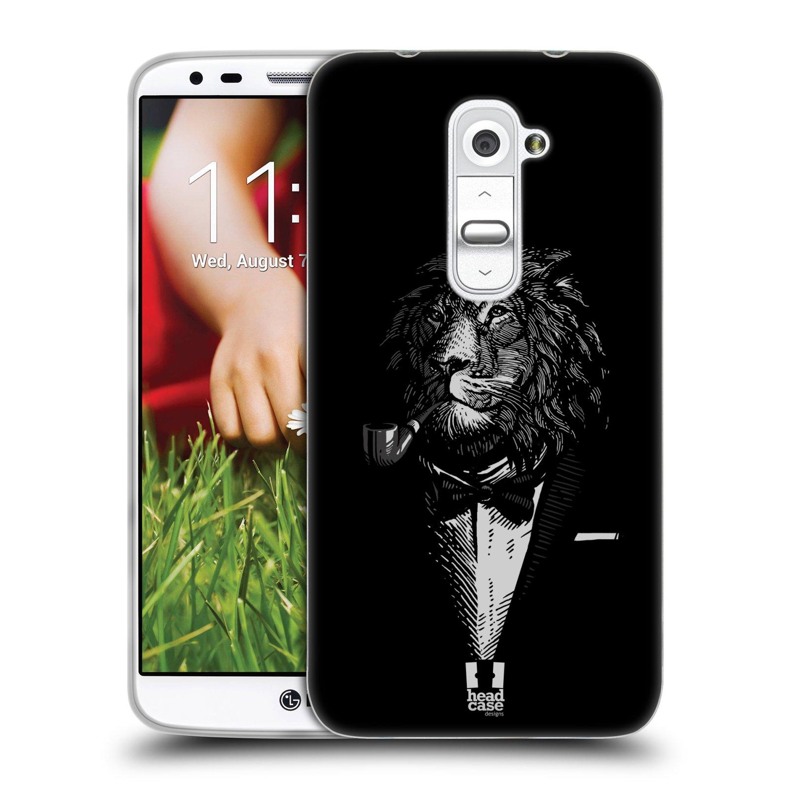 HEAD CASE silikonový obal na mobil LG G2 vzor Zvíře v obleku lev