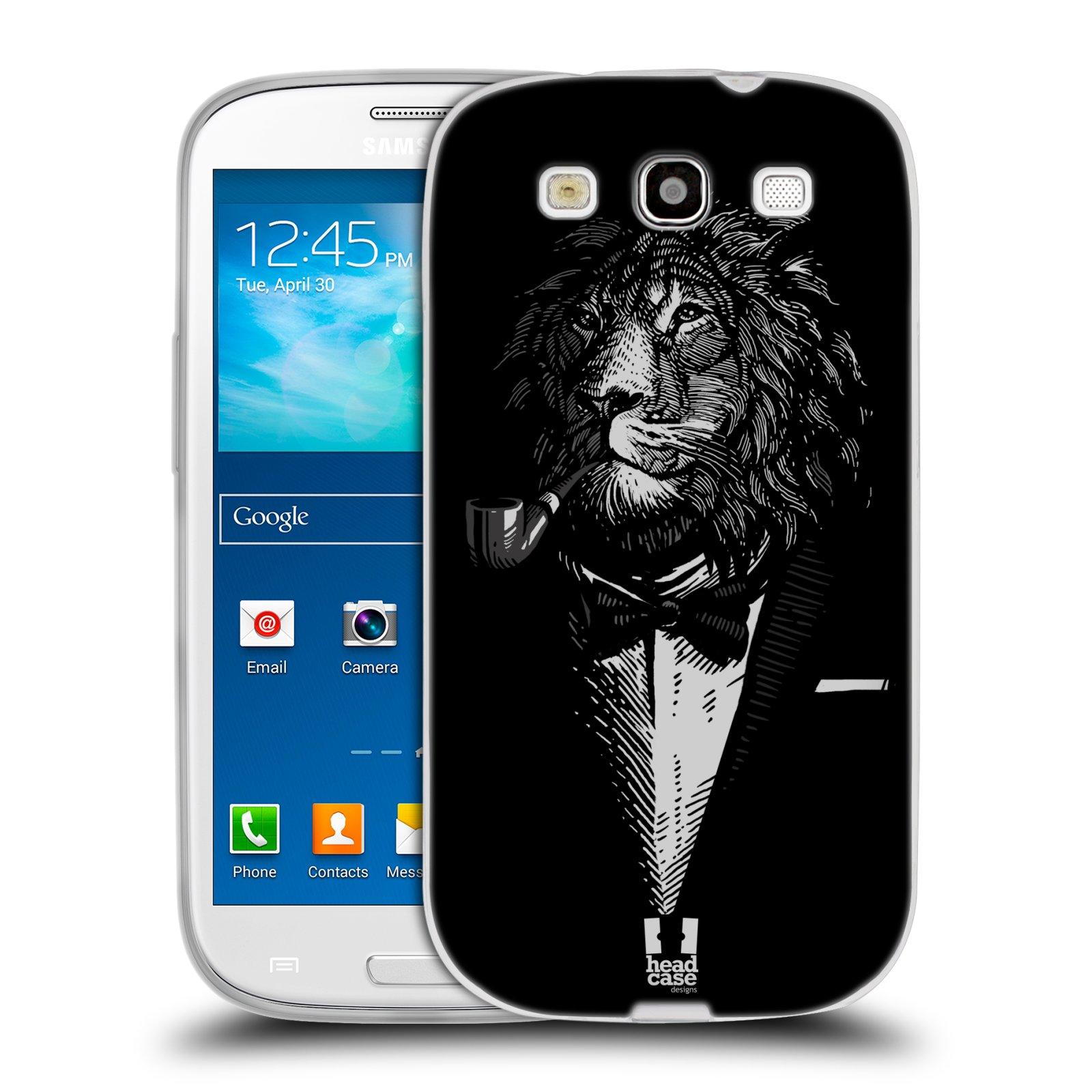 HEAD CASE silikonový obal na mobil Samsung Galaxy S3 i9300 vzor Zvíře v obleku lev