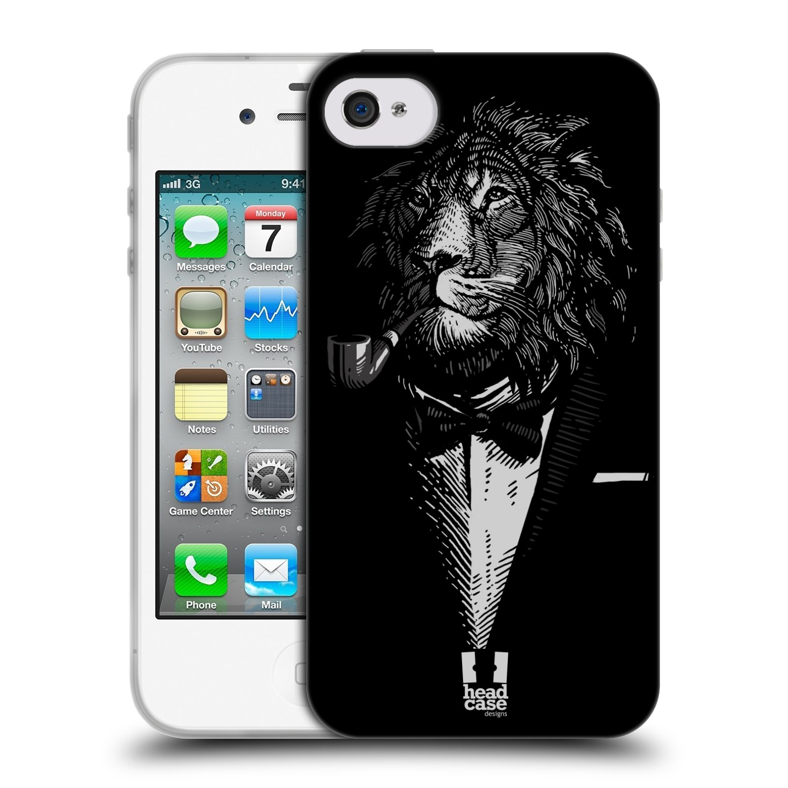 HEAD CASE silikonový obal na mobil Apple Iphone 4/4S vzor Zvíře v obleku lev