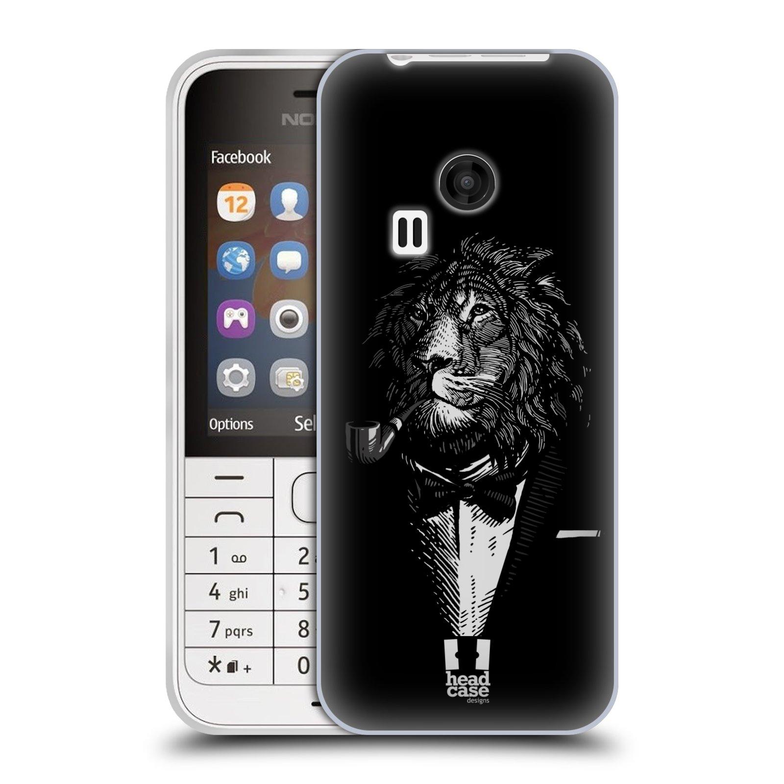 HEAD CASE silikonový obal na mobil NOKIA 220 / NOKIA 220 DUAL SIM vzor Zvíře v obleku lev