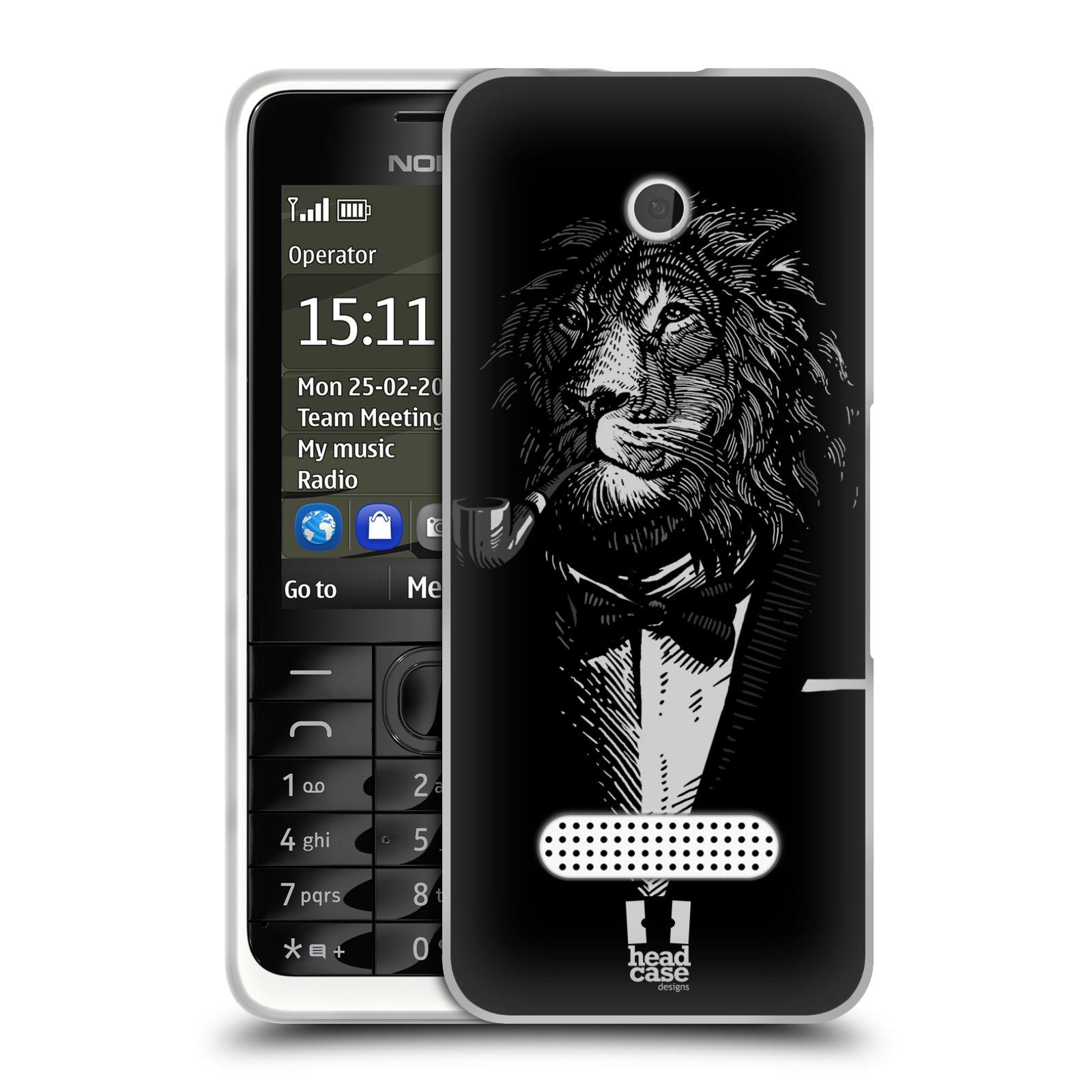 HEAD CASE silikonový obal na mobil NOKIA 301 vzor Zvíře v obleku lev