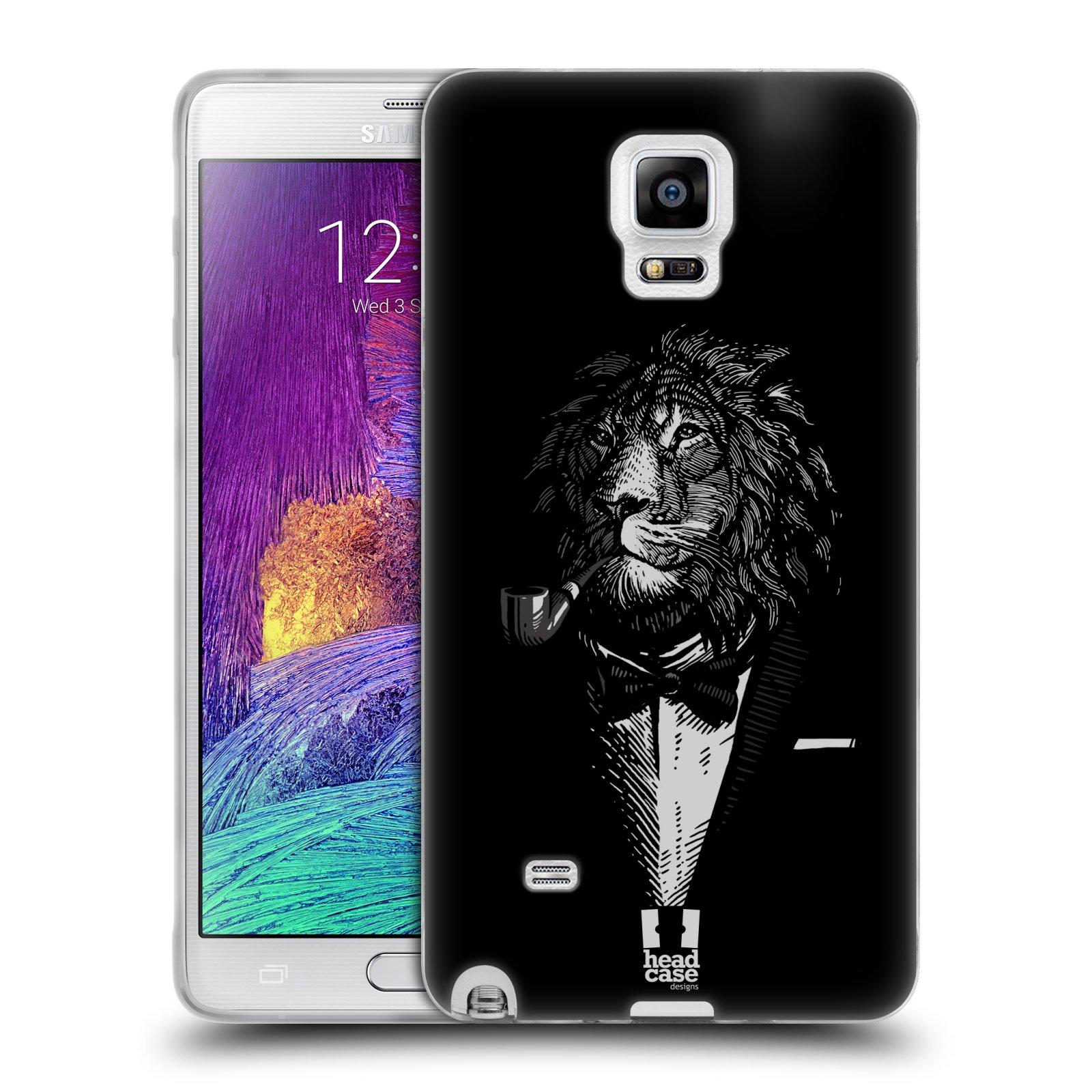HEAD CASE silikonový obal na mobil Samsung Galaxy Note 4 (N910) vzor Zvíře v obleku lev