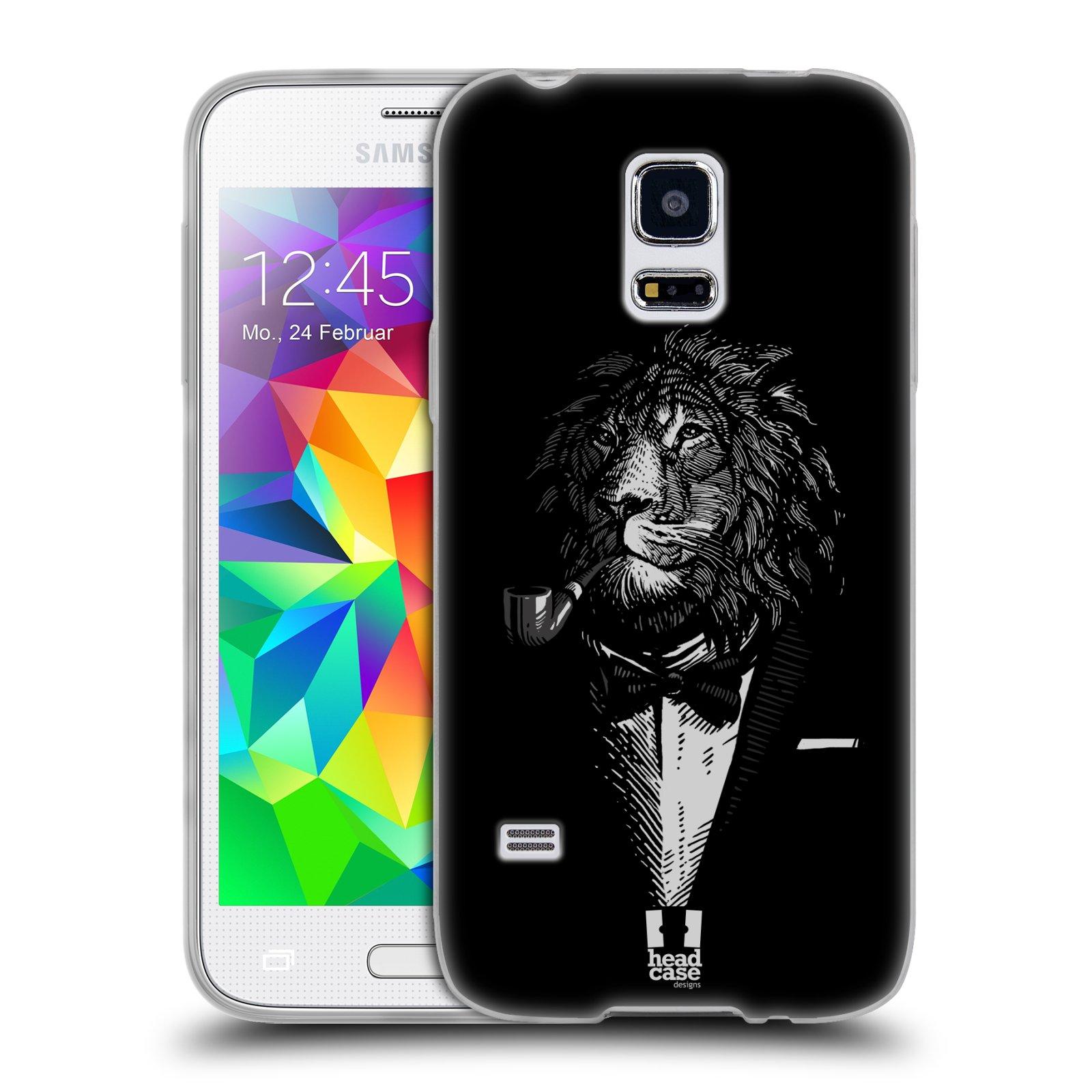 HEAD CASE silikonový obal na mobil Samsung Galaxy S5 MINI vzor Zvíře v obleku lev