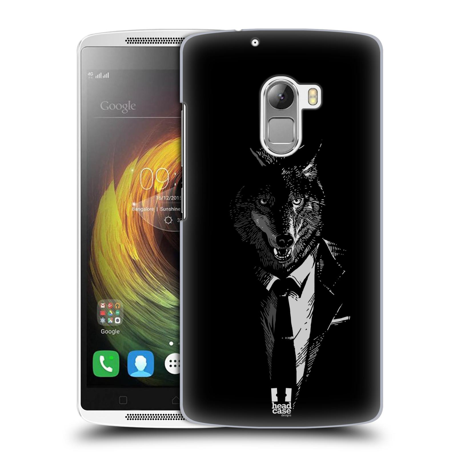 HEAD CASE pevný plastový obal na mobil LENOVO A7010 / A7010 DUAL / K4 Note / Vibe X3 lite vzor Zvíře v obleku vlk