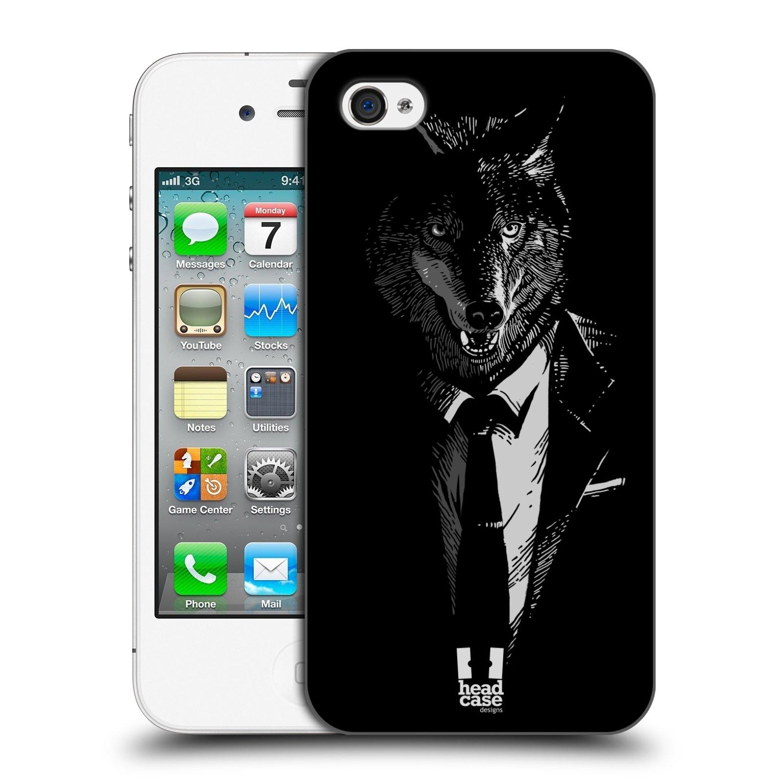 HEAD CASE plastový obal na mobil Apple Iphone 4/4S vzor Zvíře v obleku vlk