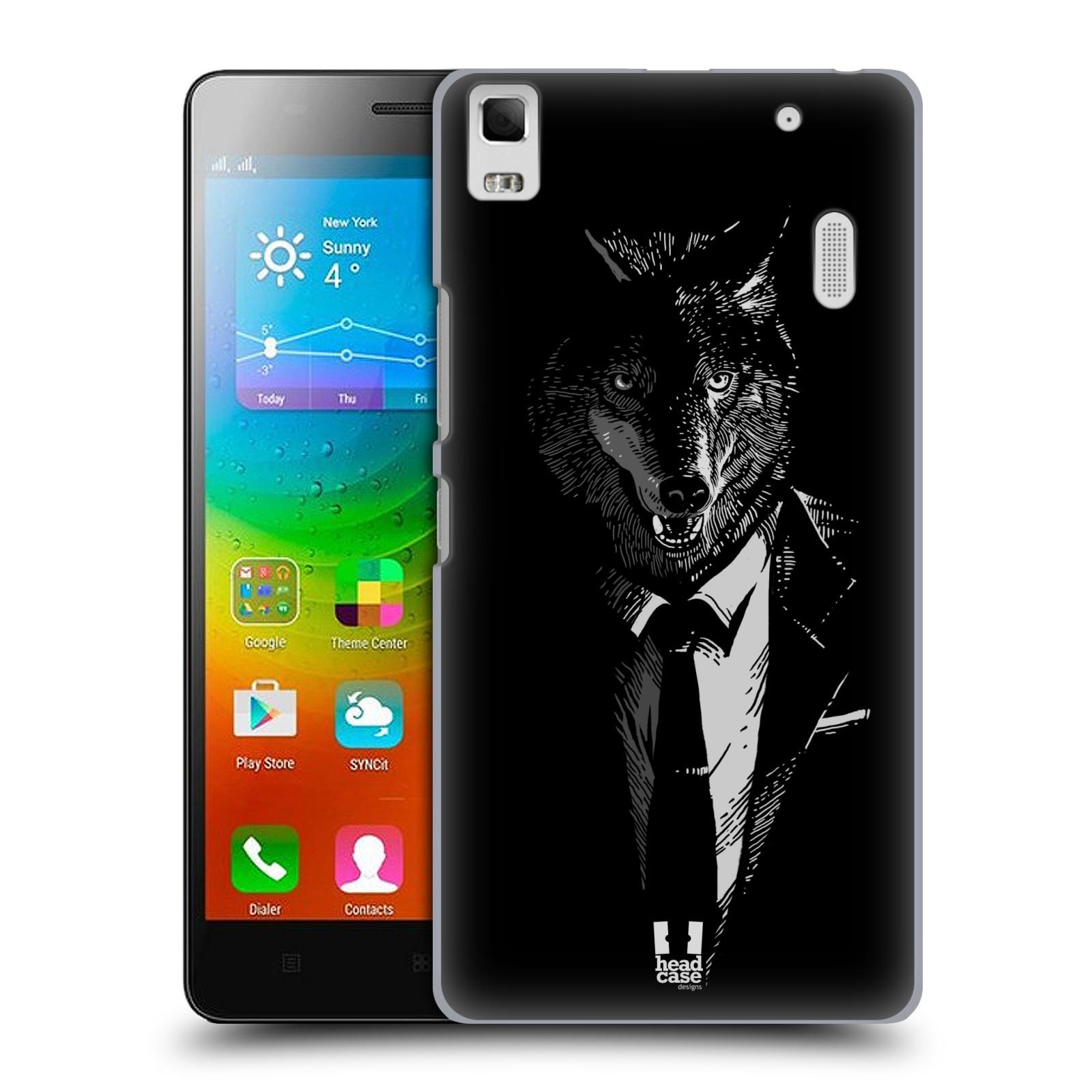 HEAD CASE pevný plastový obal na mobil LENOVO A7000 / A7000 DUAL / K3 NOTE vzor Zvíře v obleku vlk