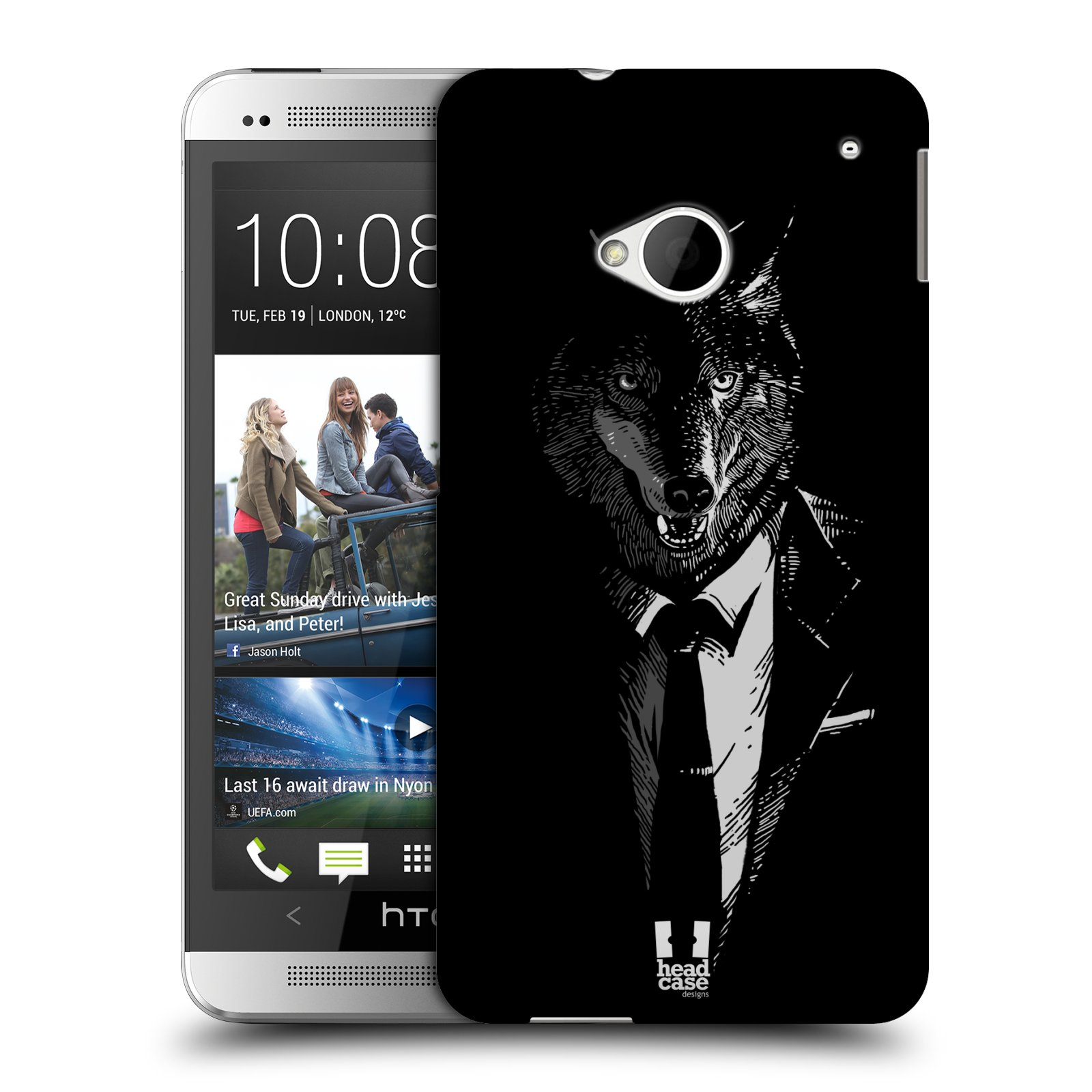 HEAD CASE plastový obal na mobil HTC One (M7) vzor Zvíře v obleku vlk